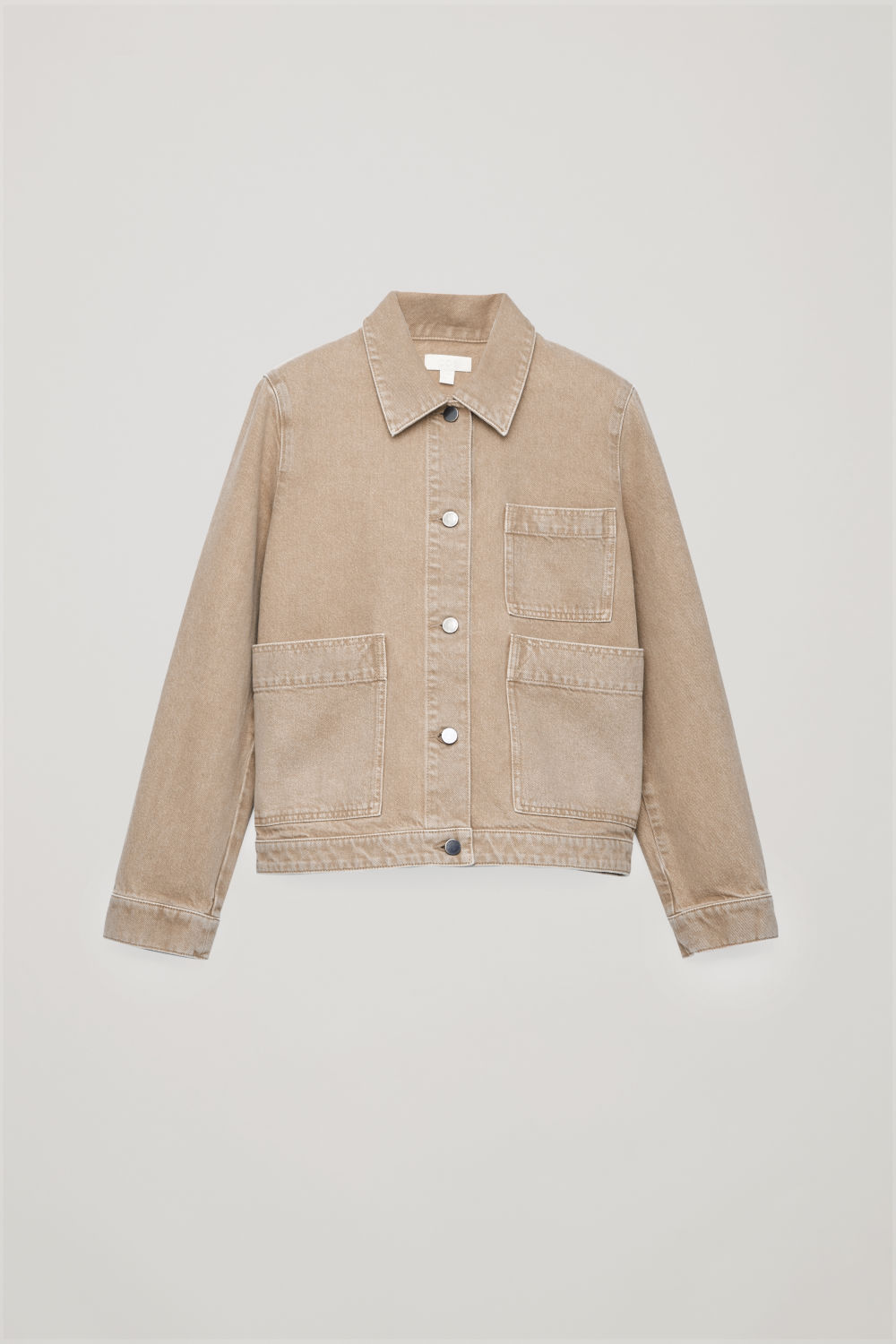 Front image of Cos denim jacket with patch pockets in beige