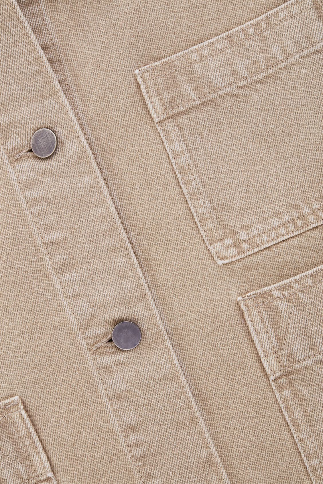 Side image of Cos denim jacket with patch pockets in beige