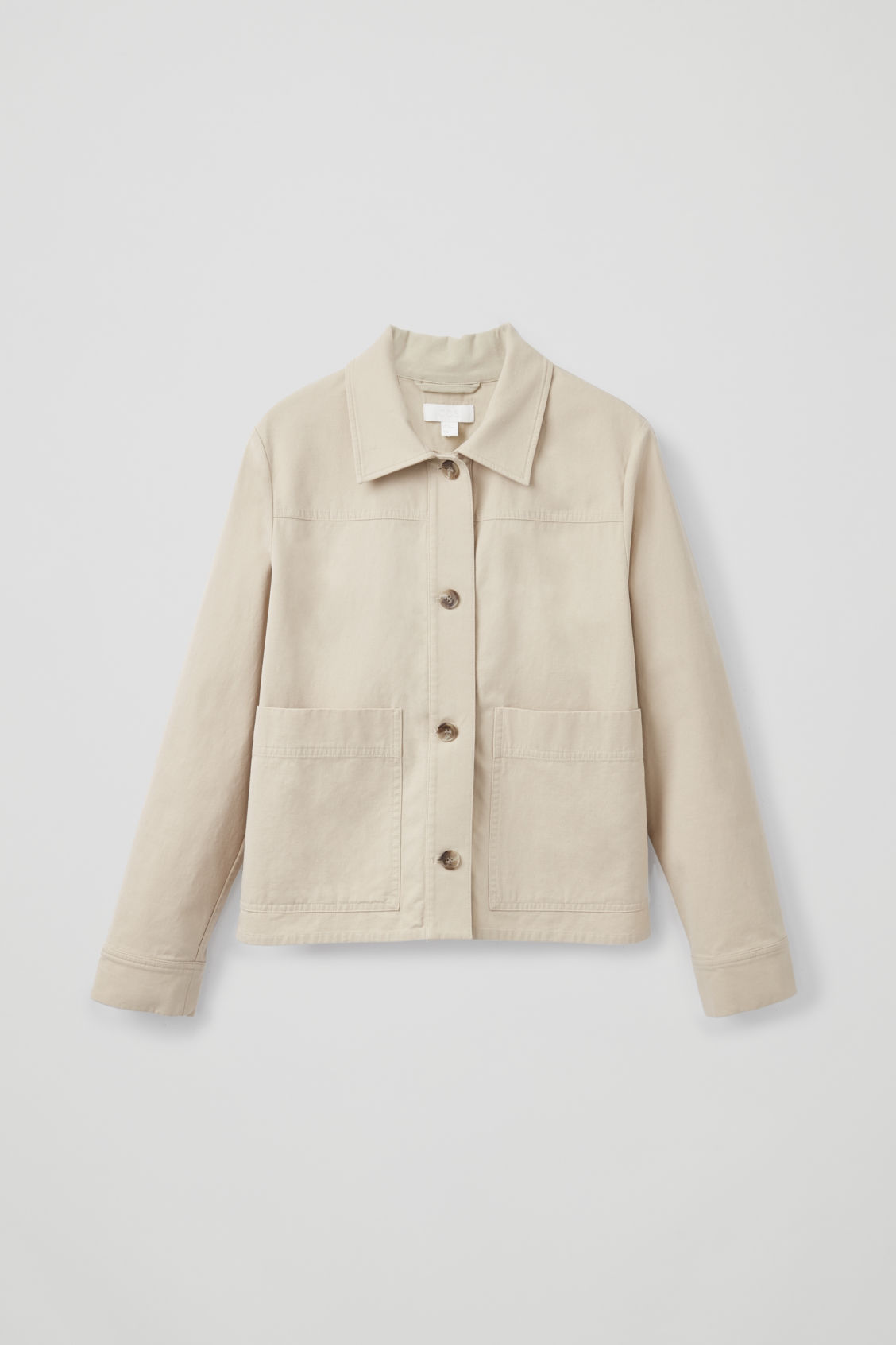 Front image of Cos button-up canvas jacket in beige
