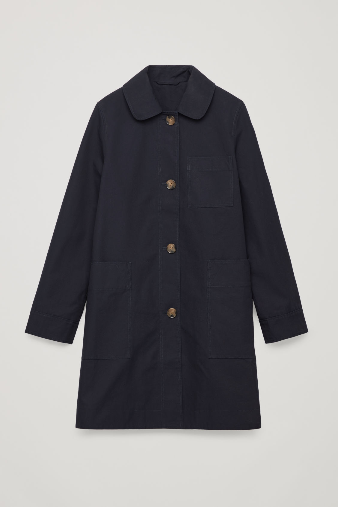 Front image of Cos short workwear trench coat in blue