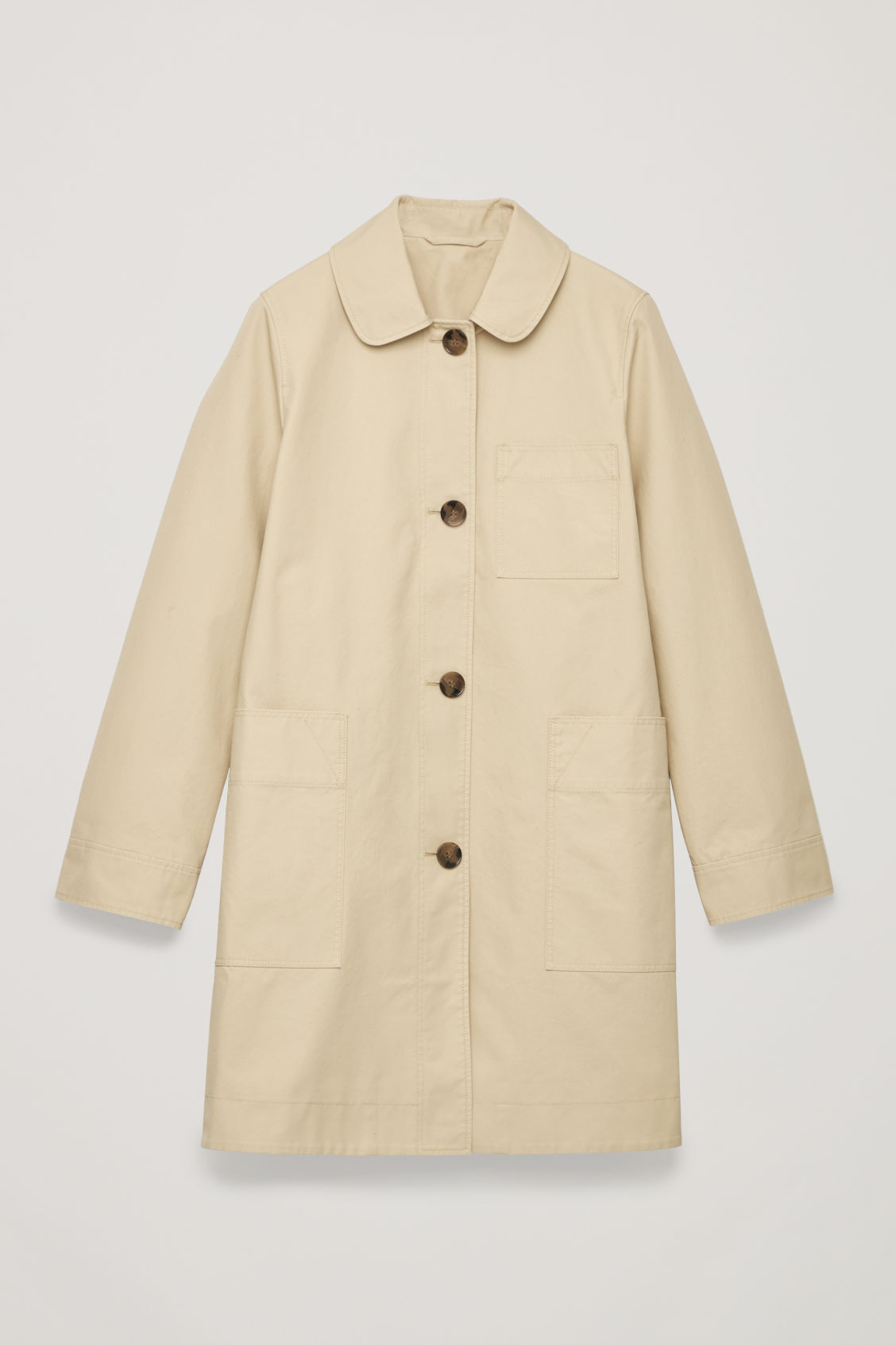 Front image of Cos short workwear trench coat in beige