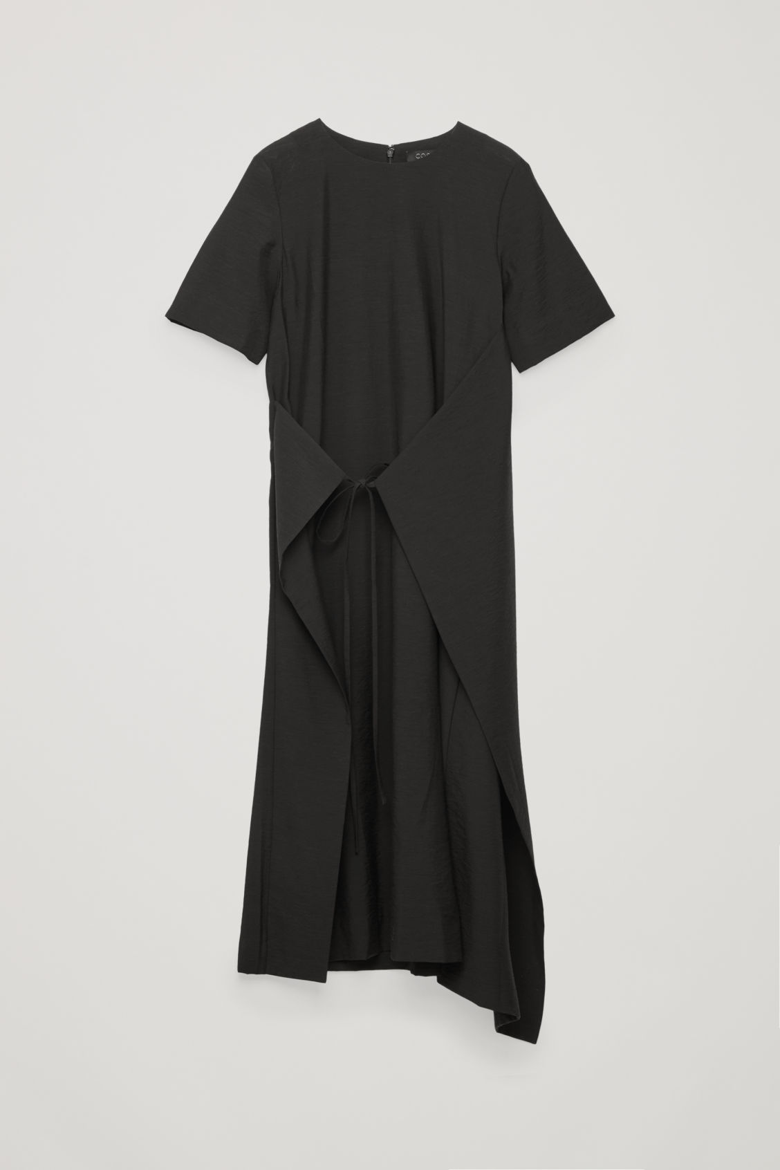 Front image of Cos asymmetric tie dress  in black