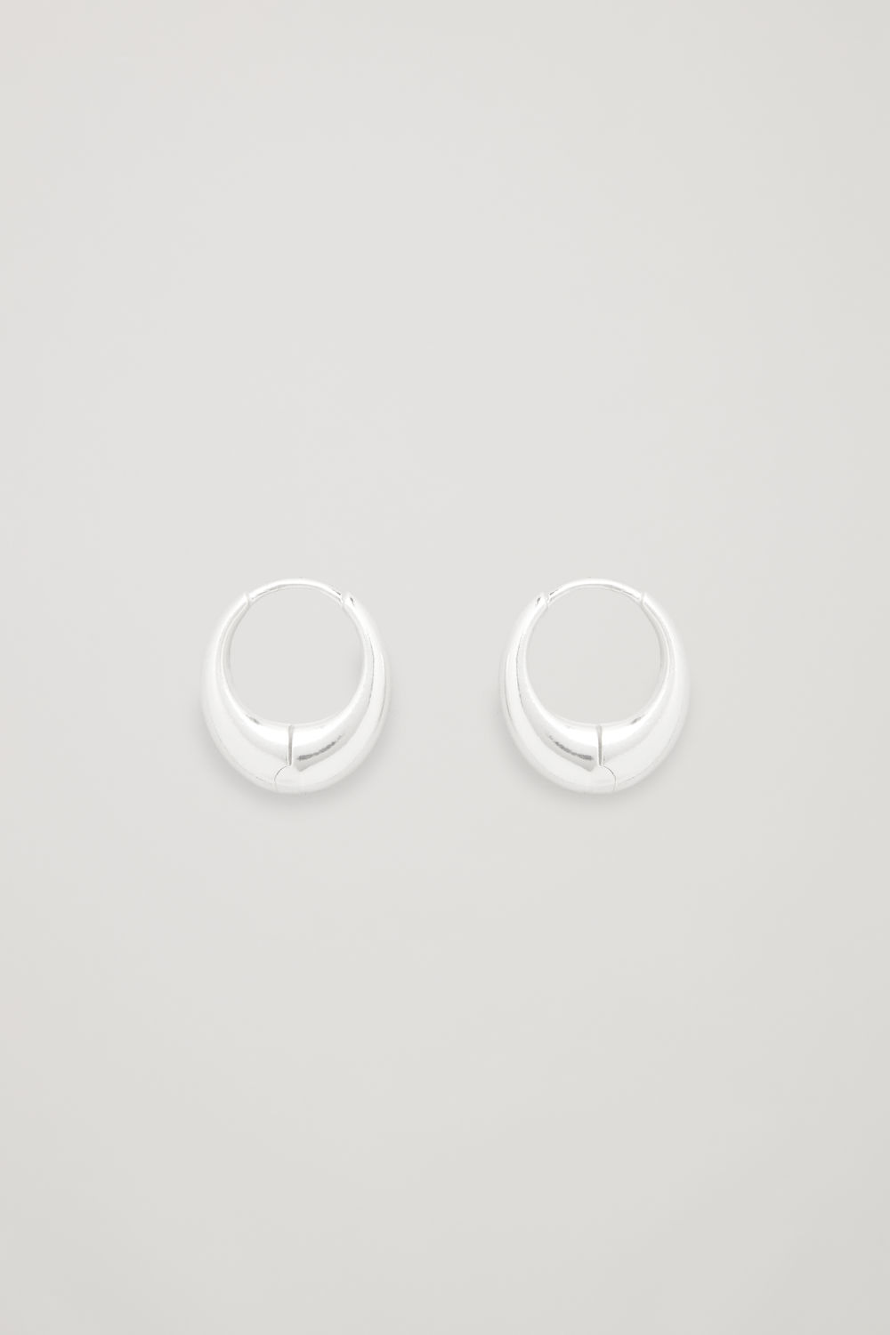 CURVED STERLING-SILVER HOOP EARRINGS