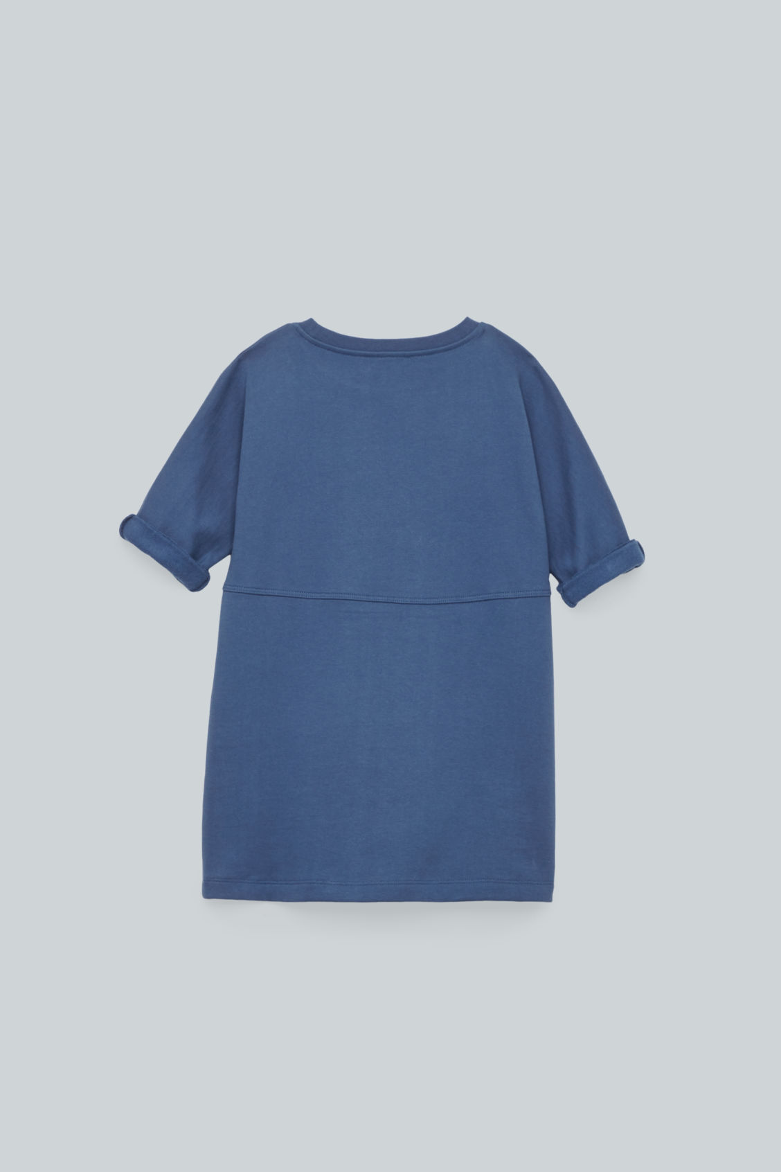 Side image of Cos circle-pocket jersey dress in blue