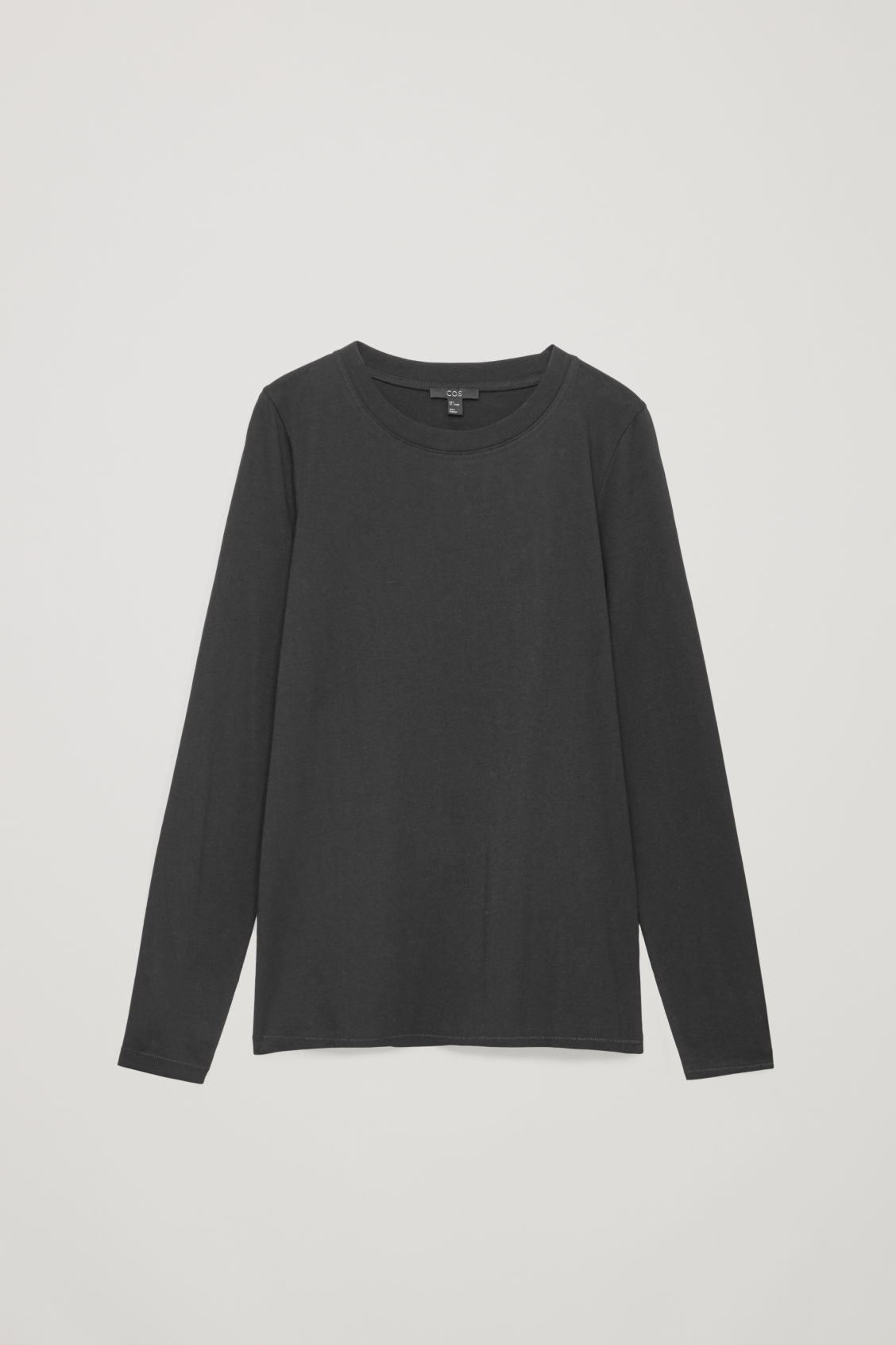 Front image of Cos straight-hem long-sleeved top in black
