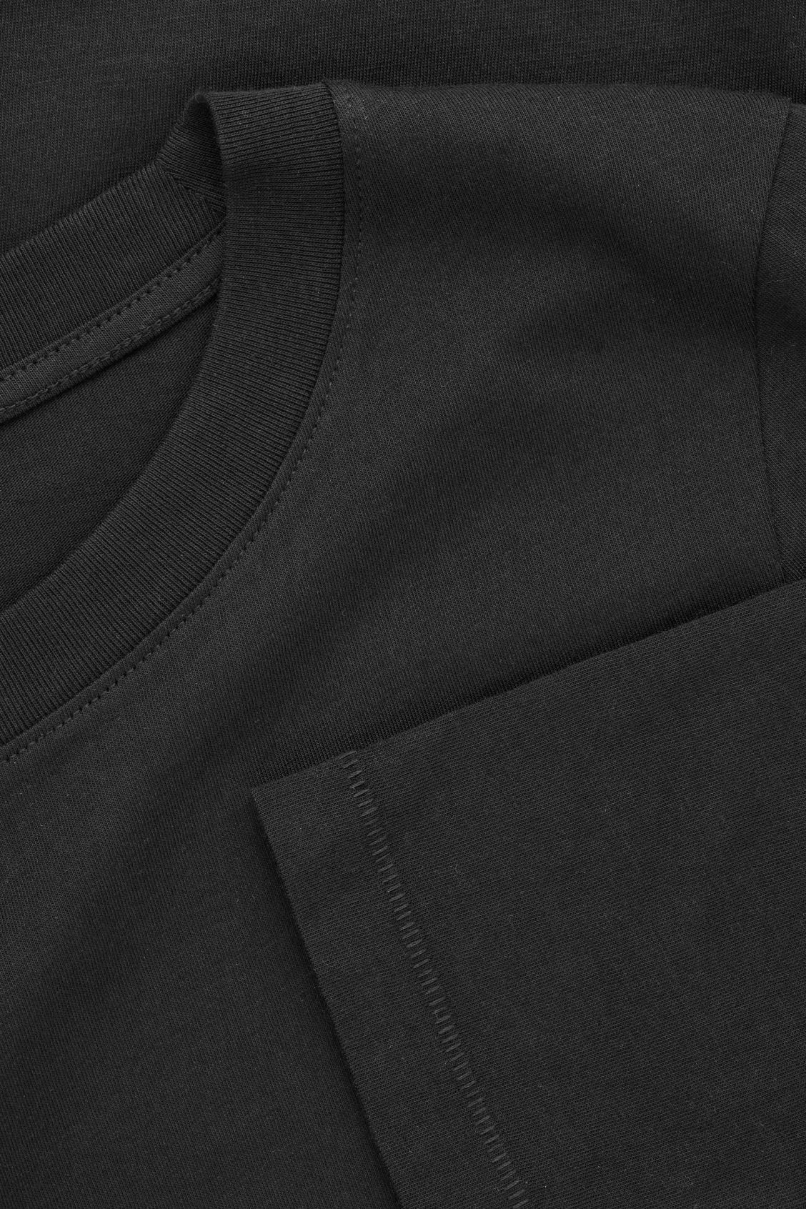 Side image of Cos straight-hem long-sleeved top in black