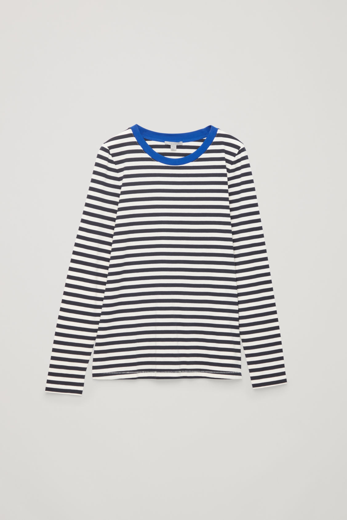Front image of Cos straight-hem long-sleeved top in blue