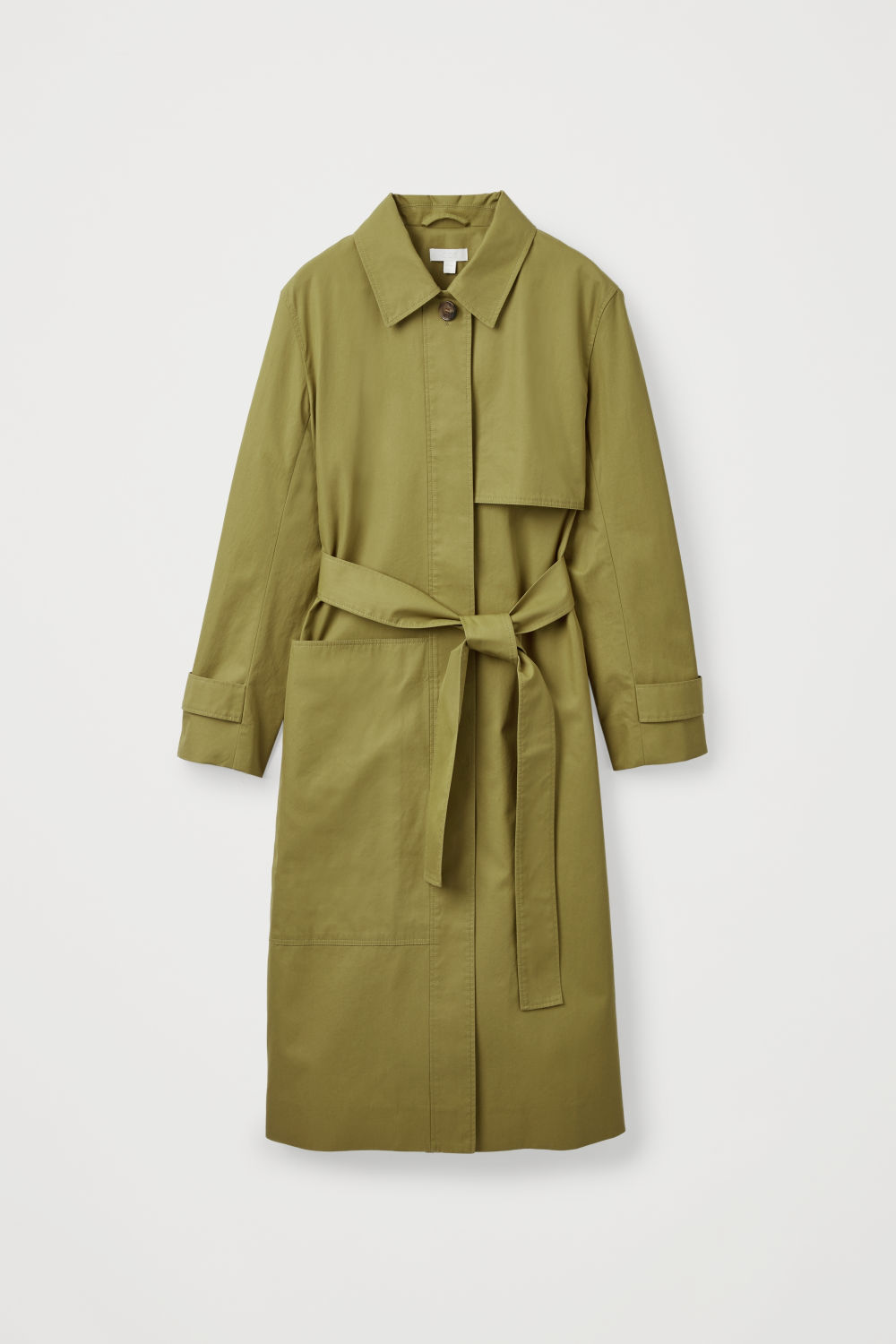Front image of Cos cotton-twill trench coat  in green