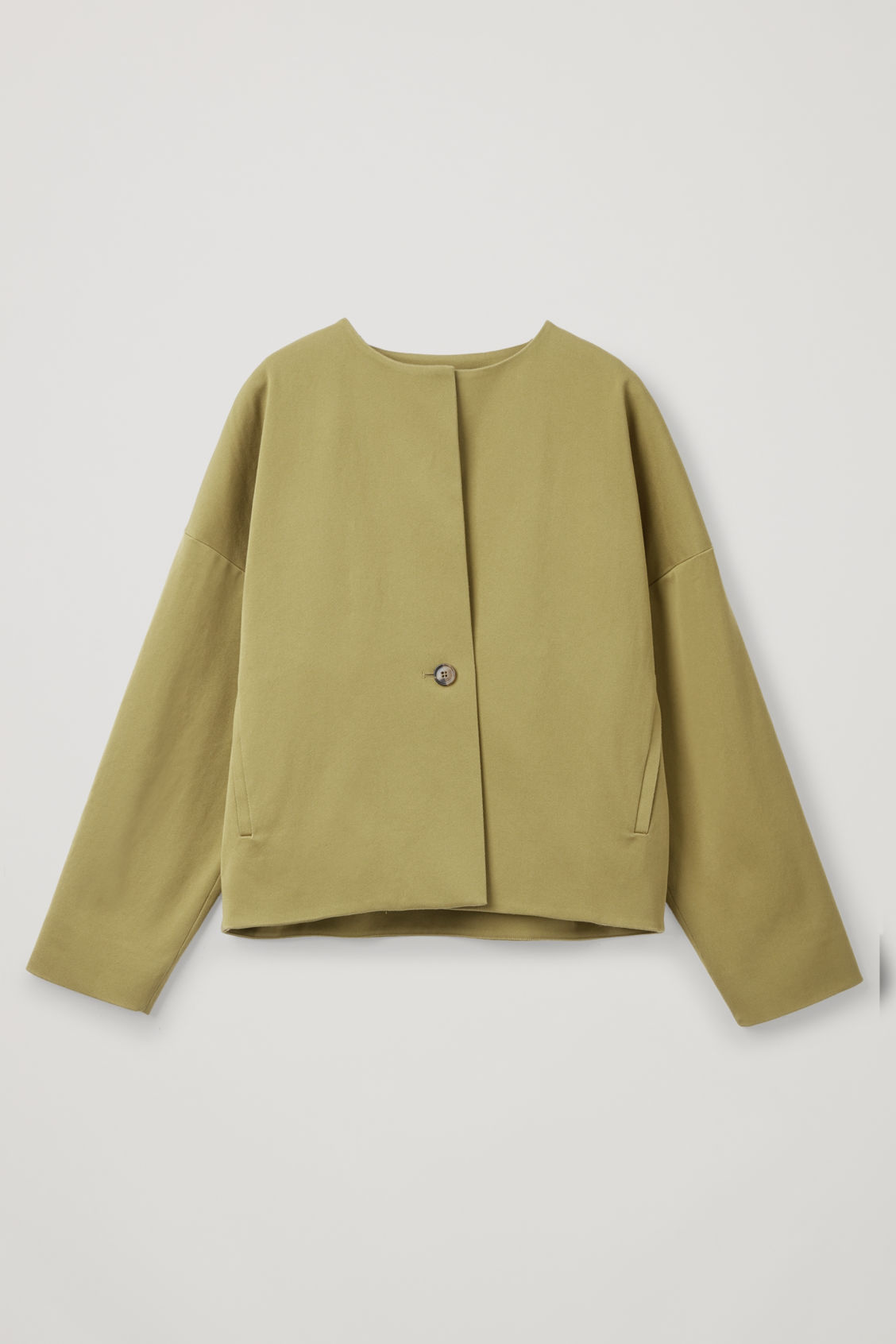 Front image of Cos boxy a-line cotton jacket in green