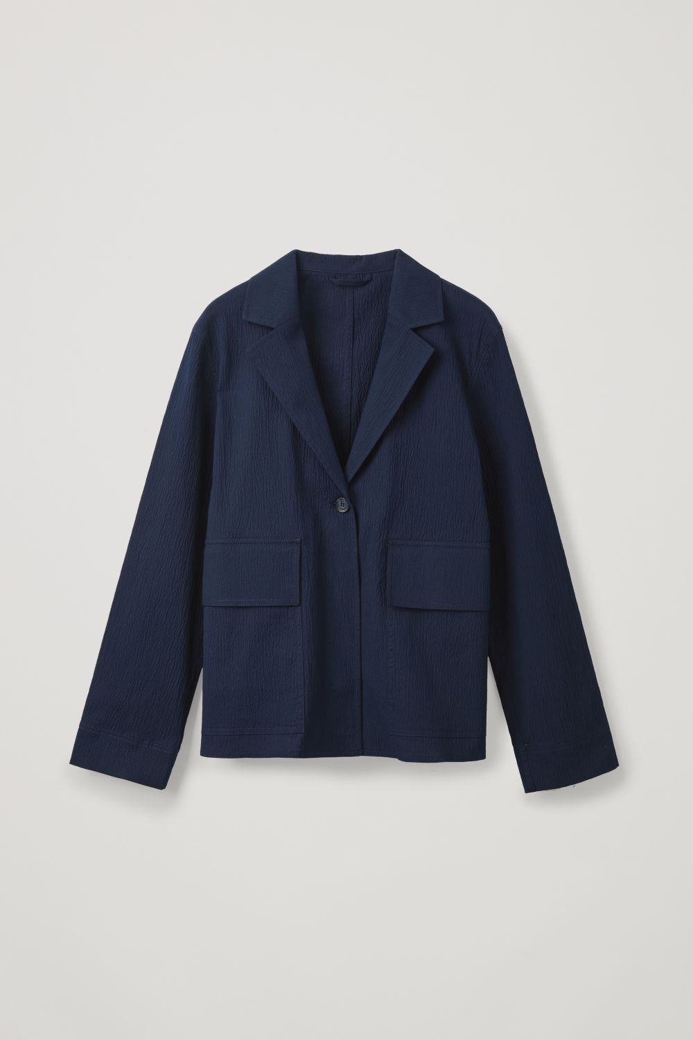 Front image of Cos cotton-seersucker blazer in blue