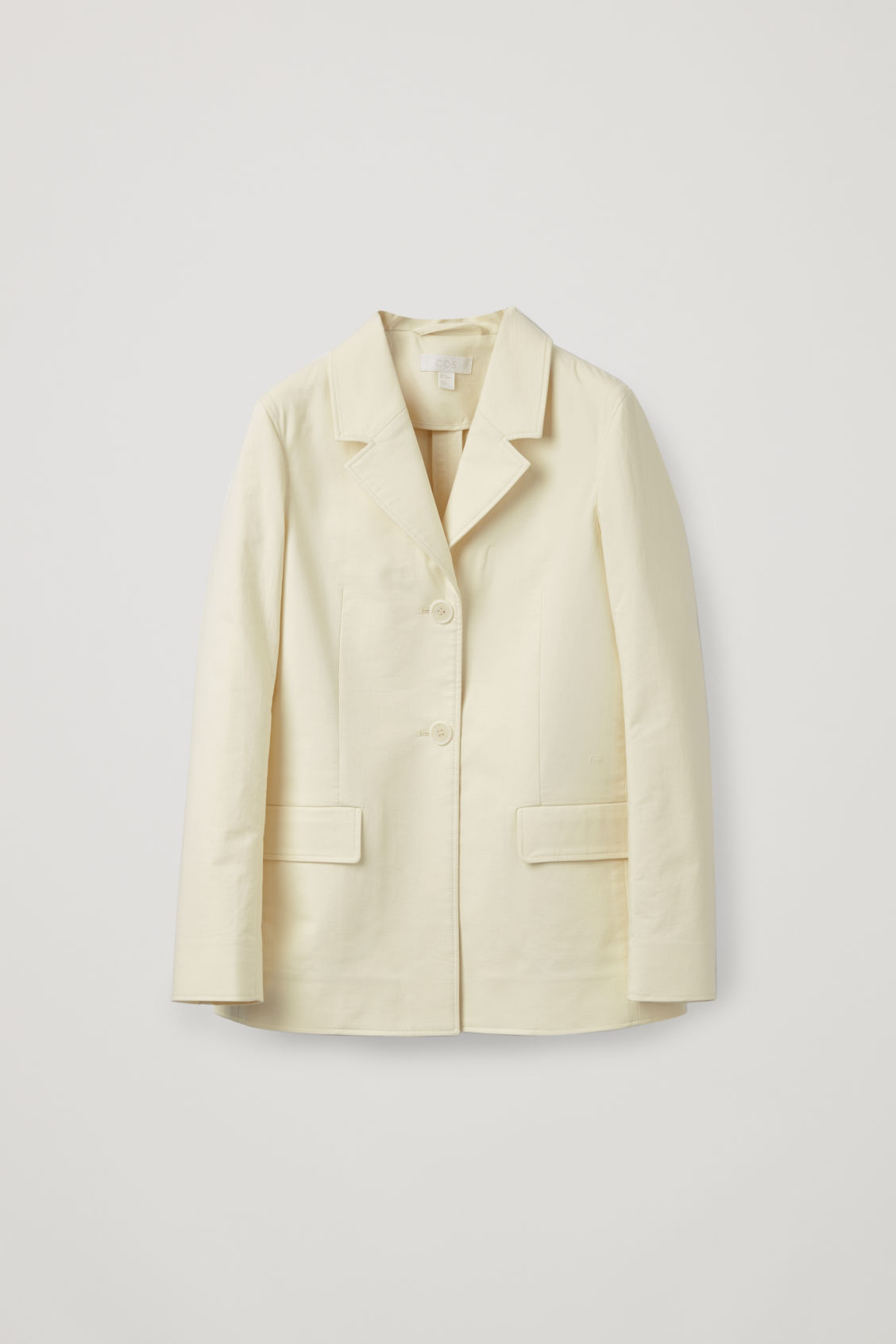 Front image of Cos relaxed cotton blazer in cream
