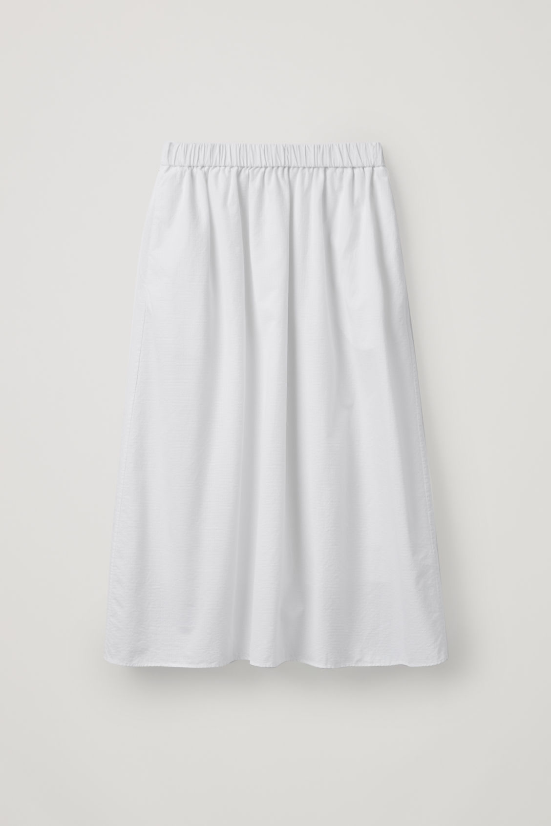 9cf471779c47 Front image of Cos textured a-line skirt in white