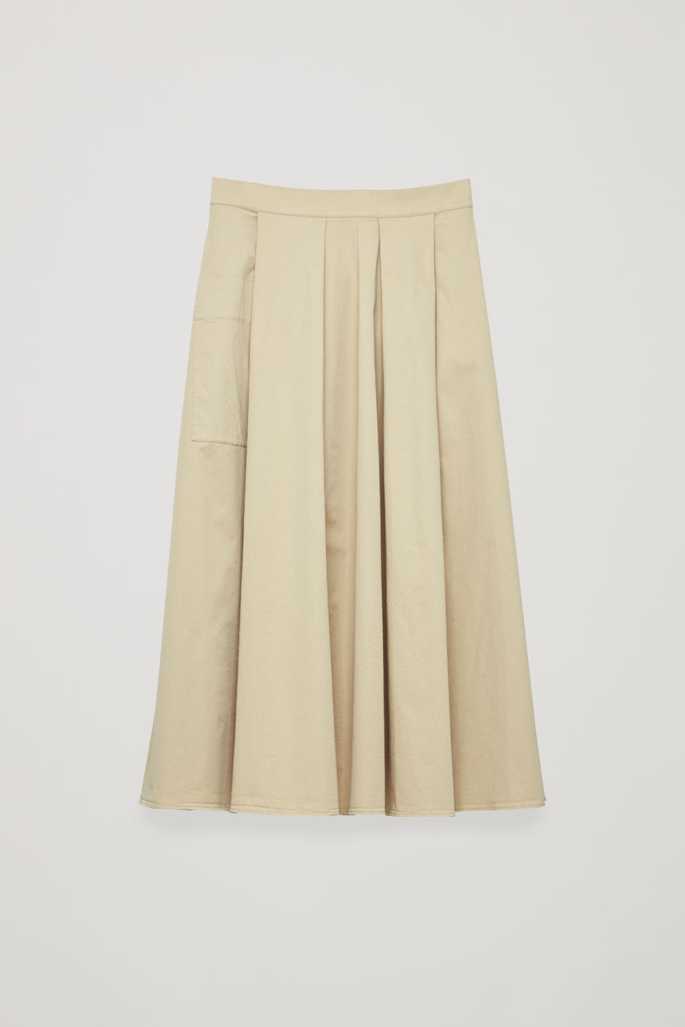 Front image of Cos a-line skirt with buttons in beige