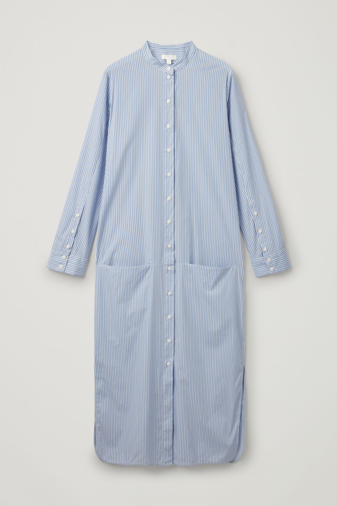 Front image of Cos long striped cotton shirt in blue