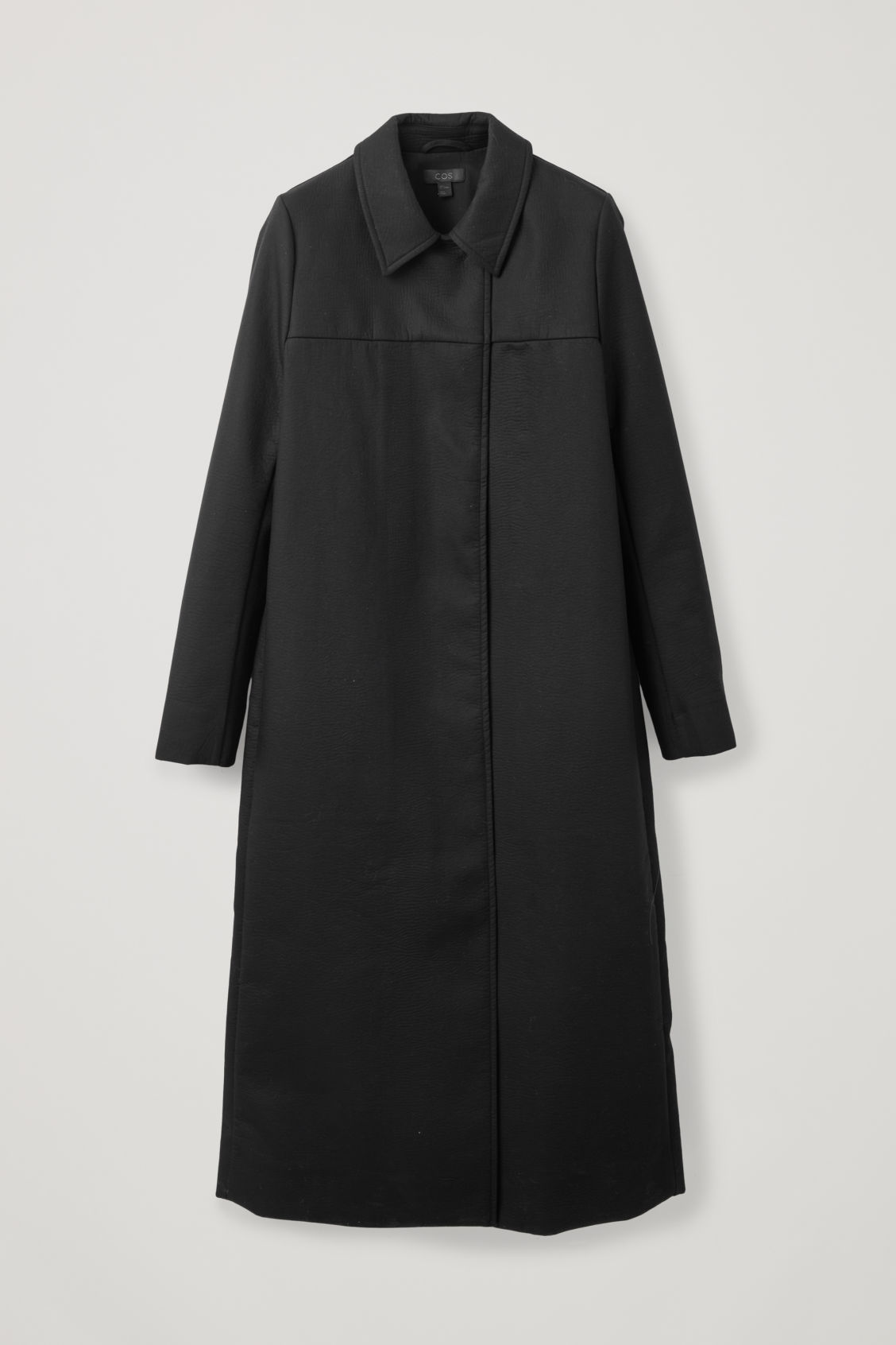 Front image of Cos long textured-cotton coat  in black