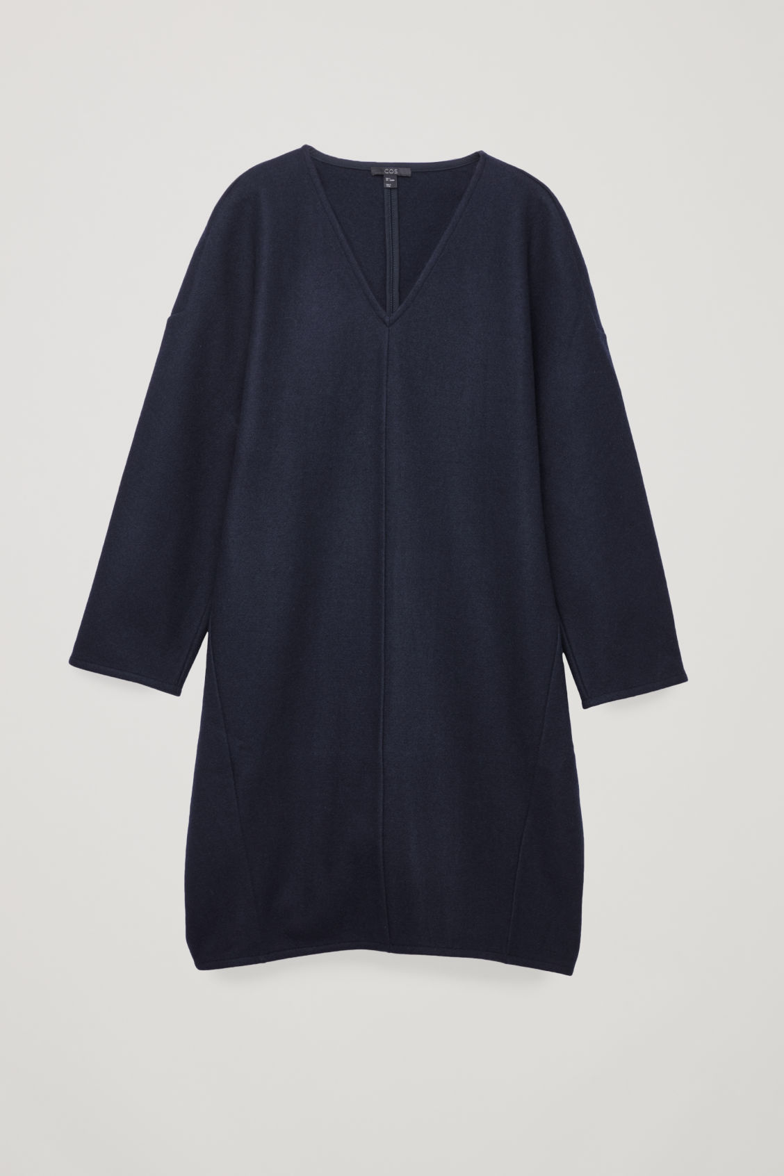 Front image of Cos oversized wool v-neck dress in blue