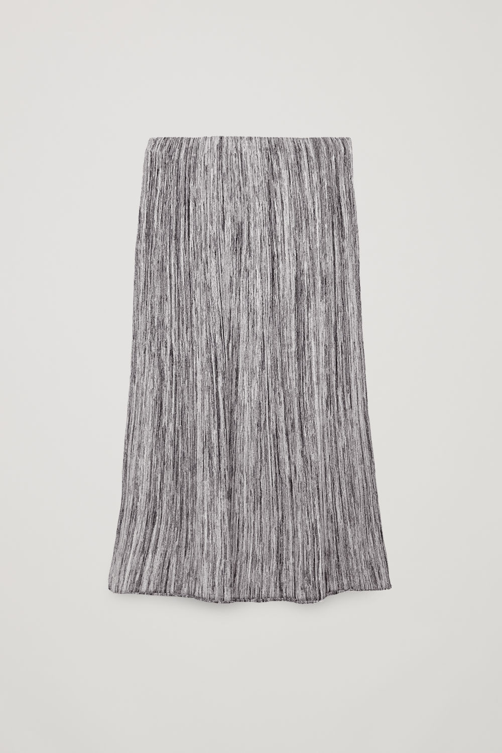 Front image of Cos multi-quality a-line knit skirt  in black