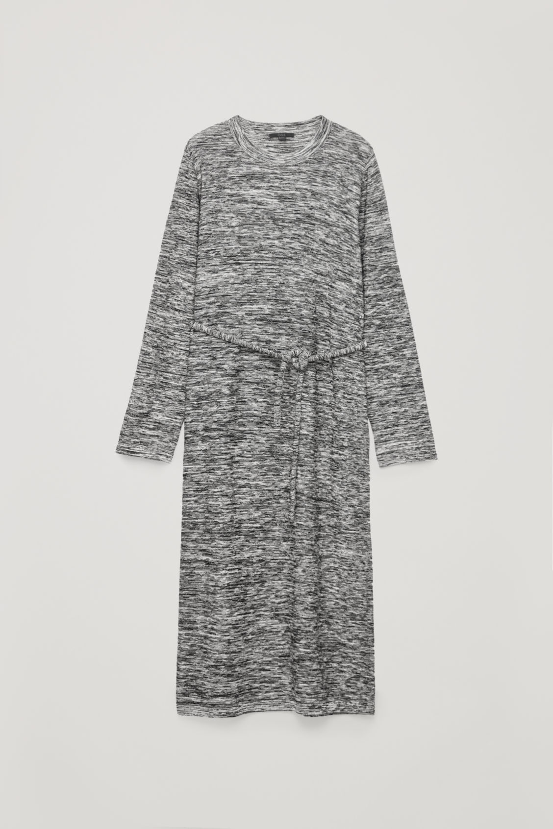 Front image of Cos long reverse-knit dress in black
