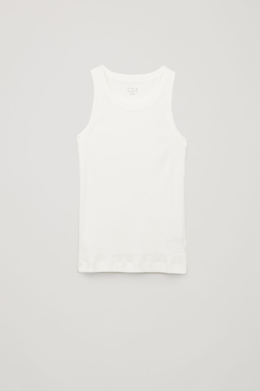 Front image of Cos ribbed vest top in white