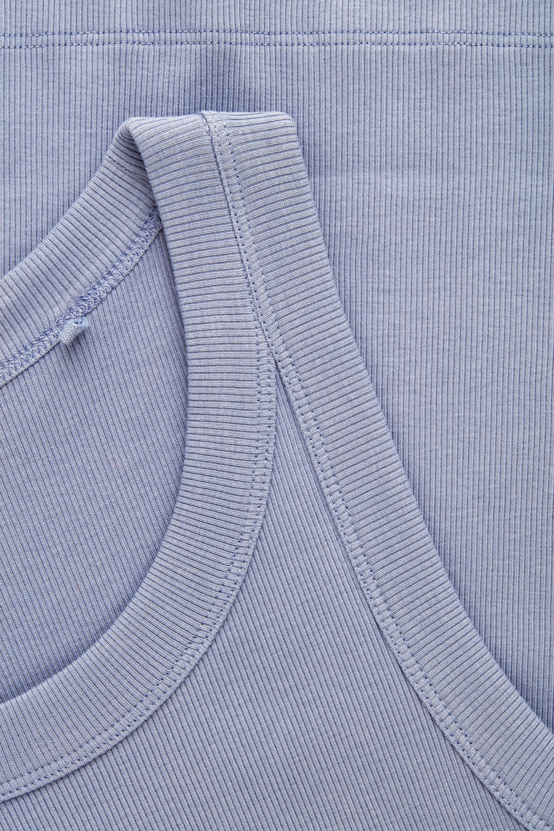 Side image of Cos ribbed vest top in blue