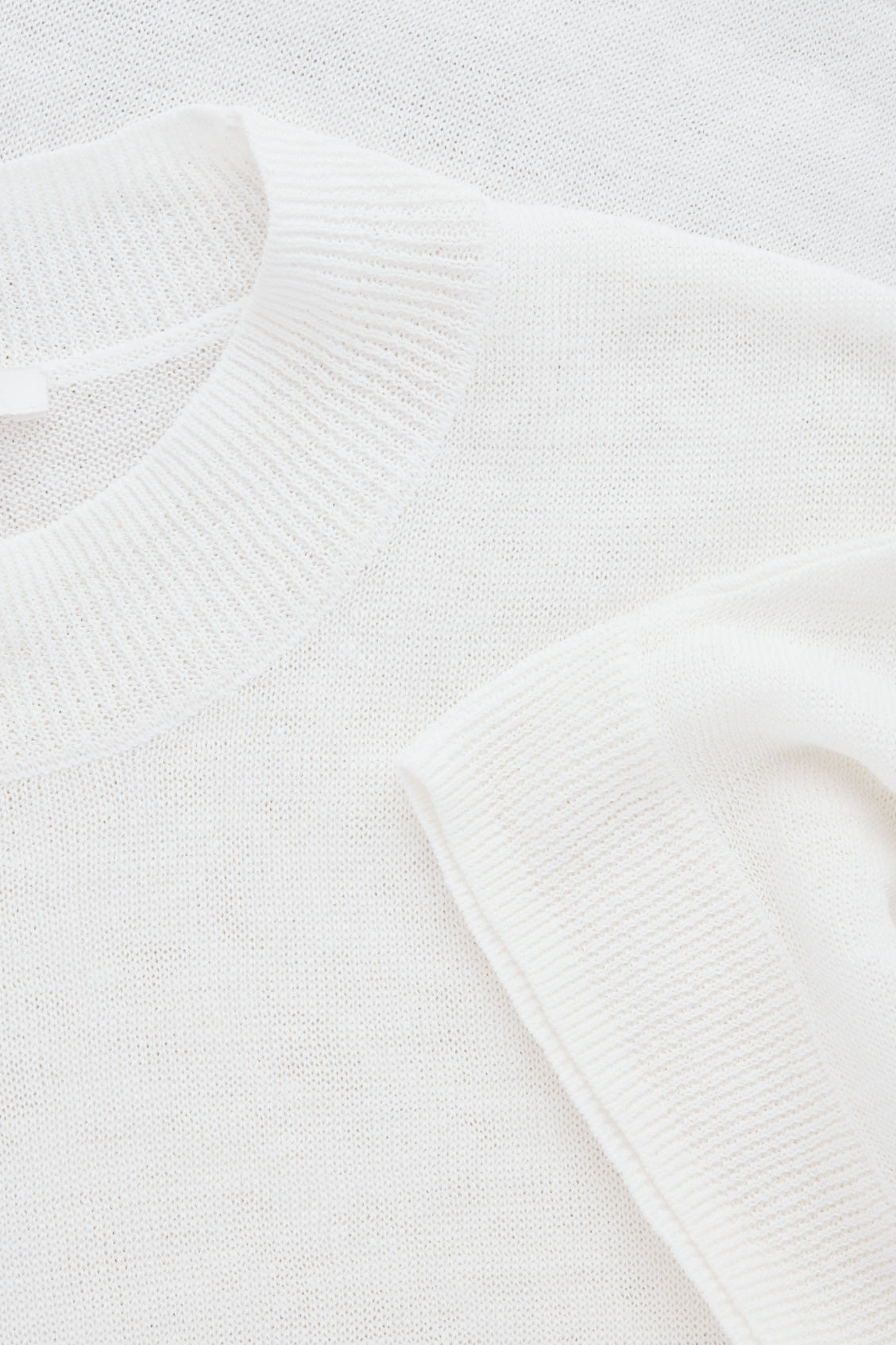 Side image of Cos shaped linen-silk knit top in white