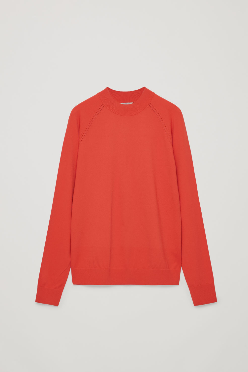 Front image of Cos pointelle-detailed knitted top in orange