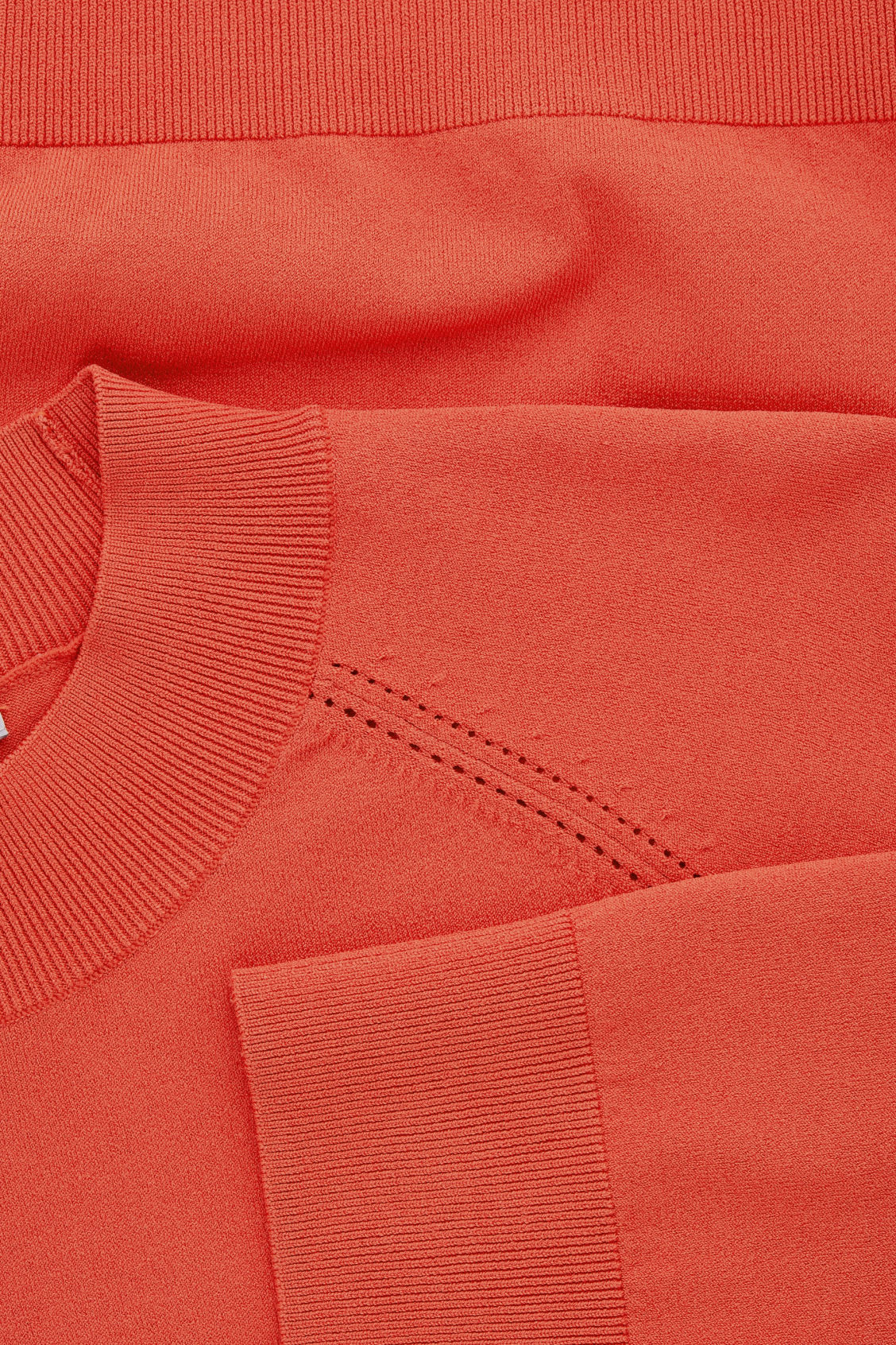 Side image of Cos pointelle-detailed knitted top in orange