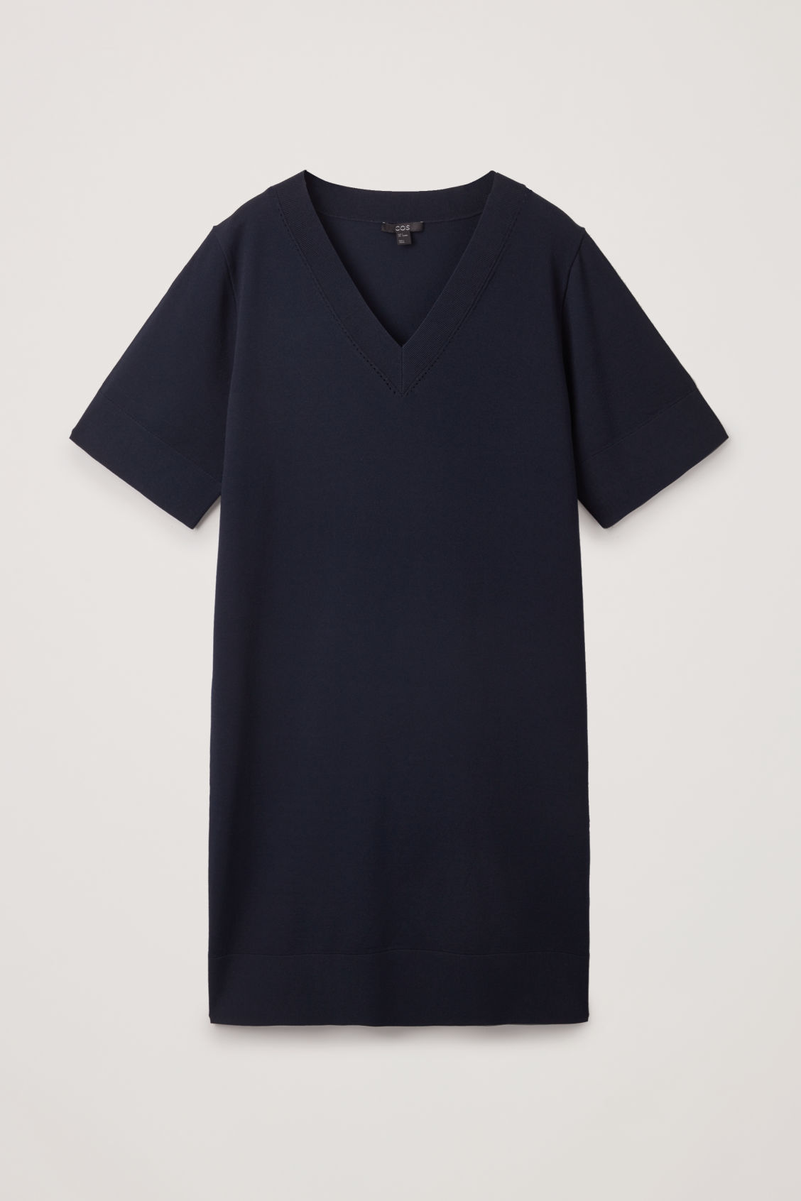 Front image of Cos straight v-neck knit dress  in blue