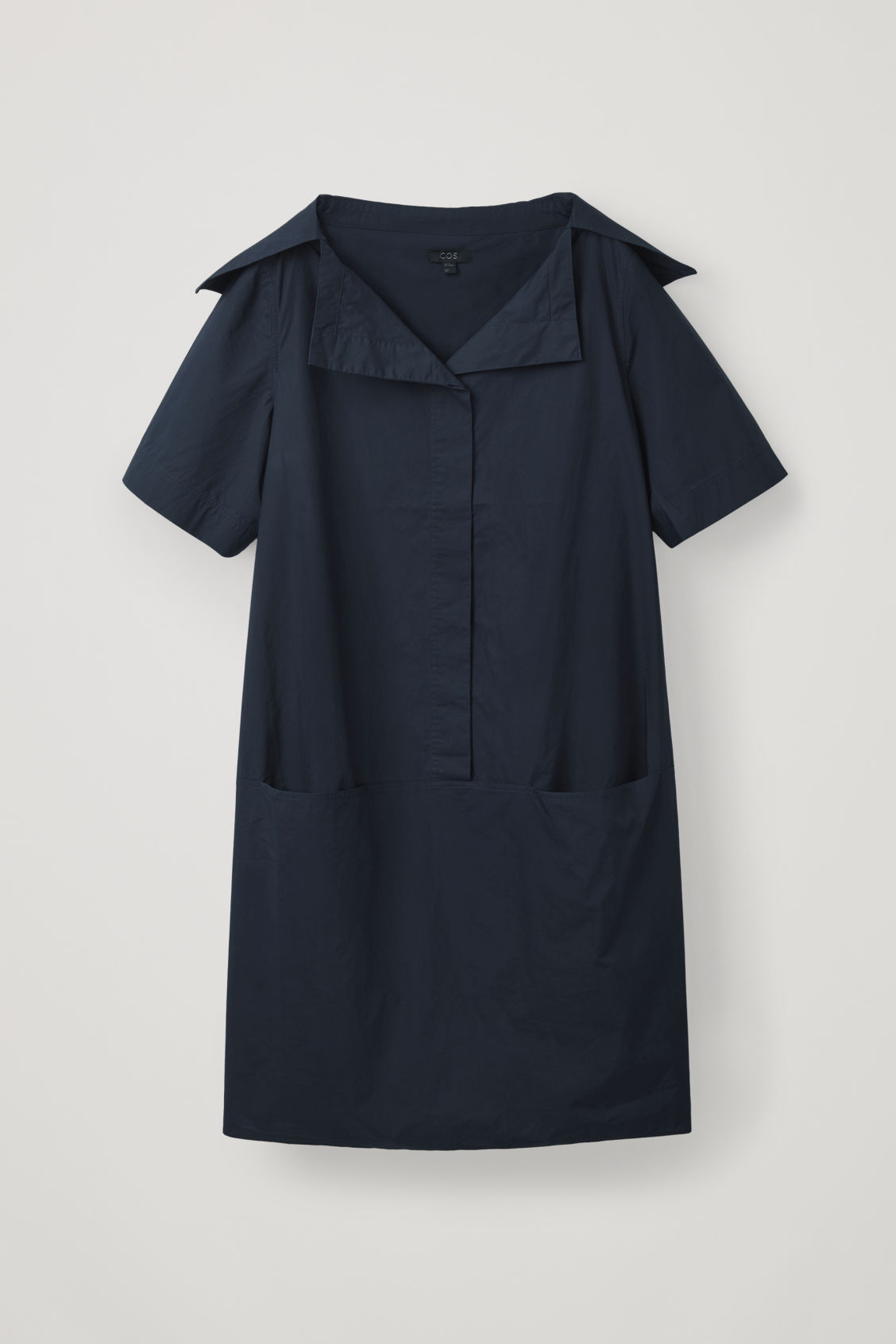 Front image of Cos relaxed sailor-neck dress in blue