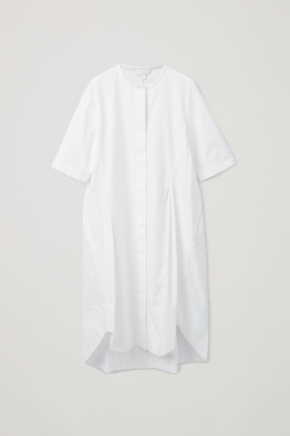 Front image of Cos grandad shirt dress with darts in white