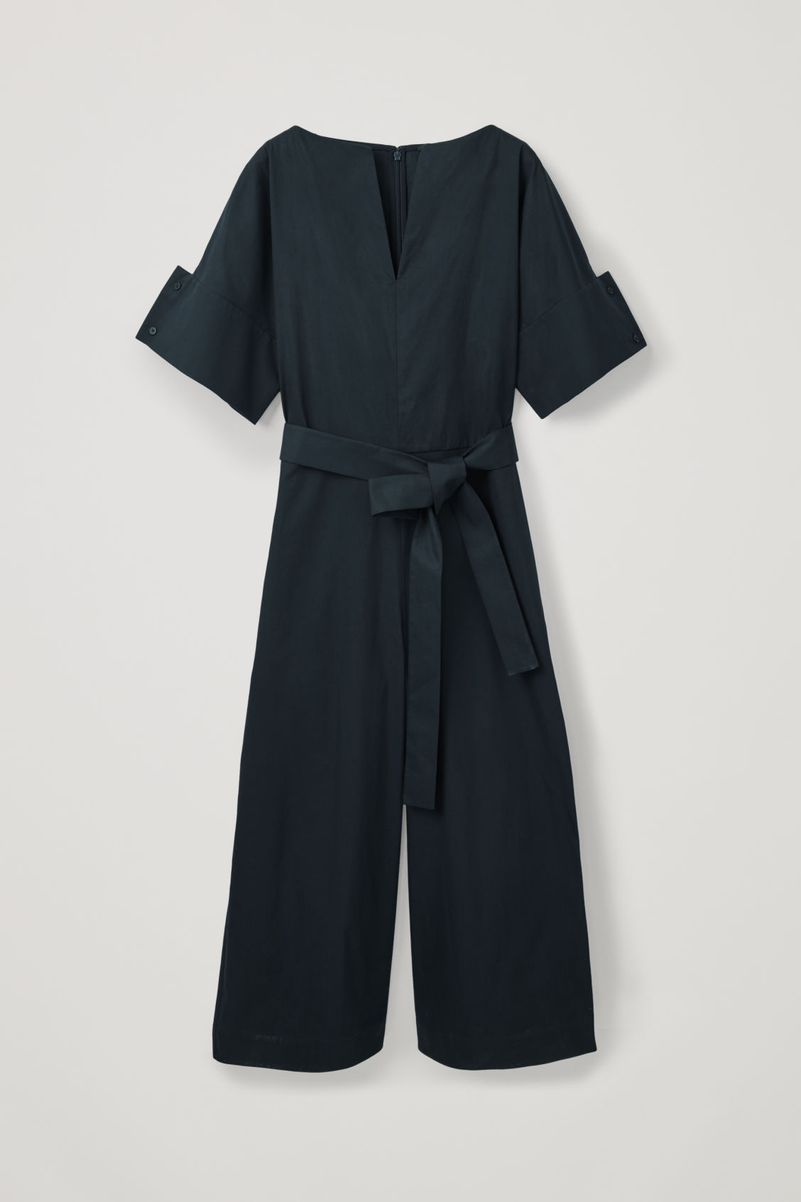 Front image of Cos belted jumpsuit with sleeve detail in blue