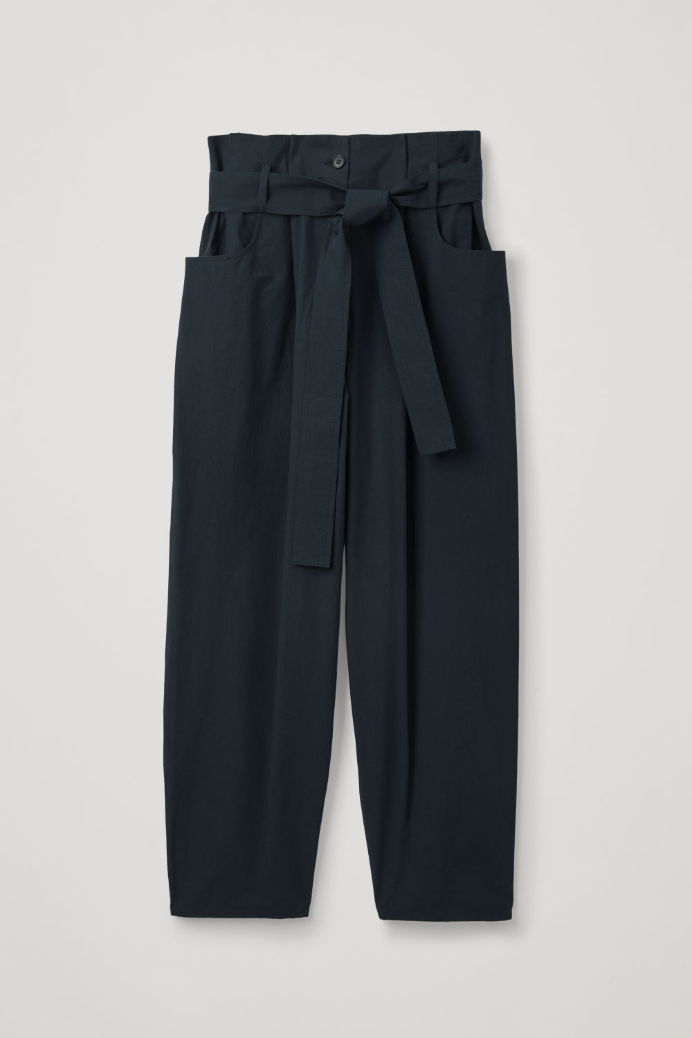 Front image of Cos pocket-detailed paperbag trousers in blue