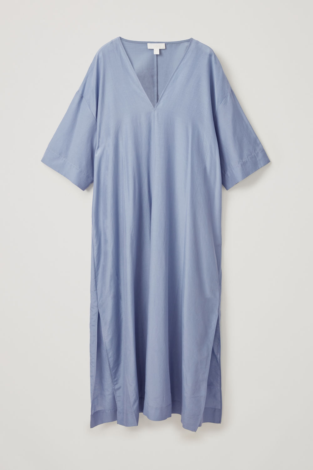 Front image of Cos oversized v-neck kaftan in blue