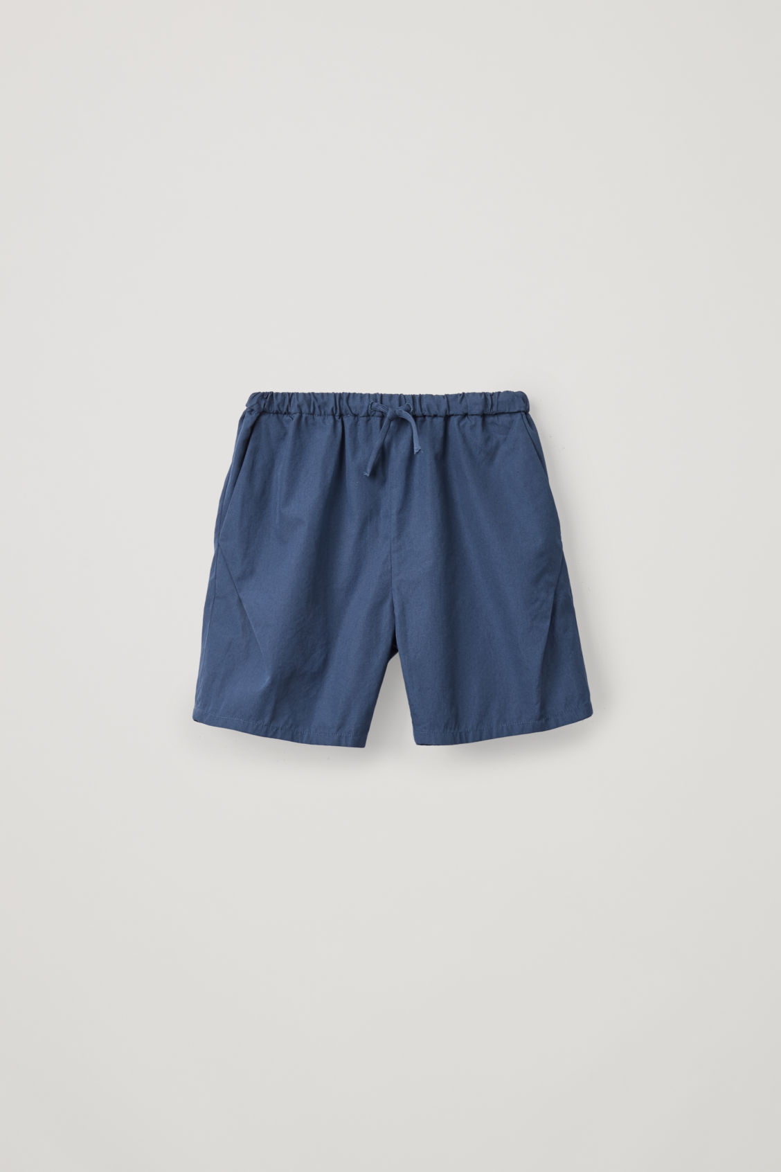 Front image of Cos drawstring cotton shorts in blue