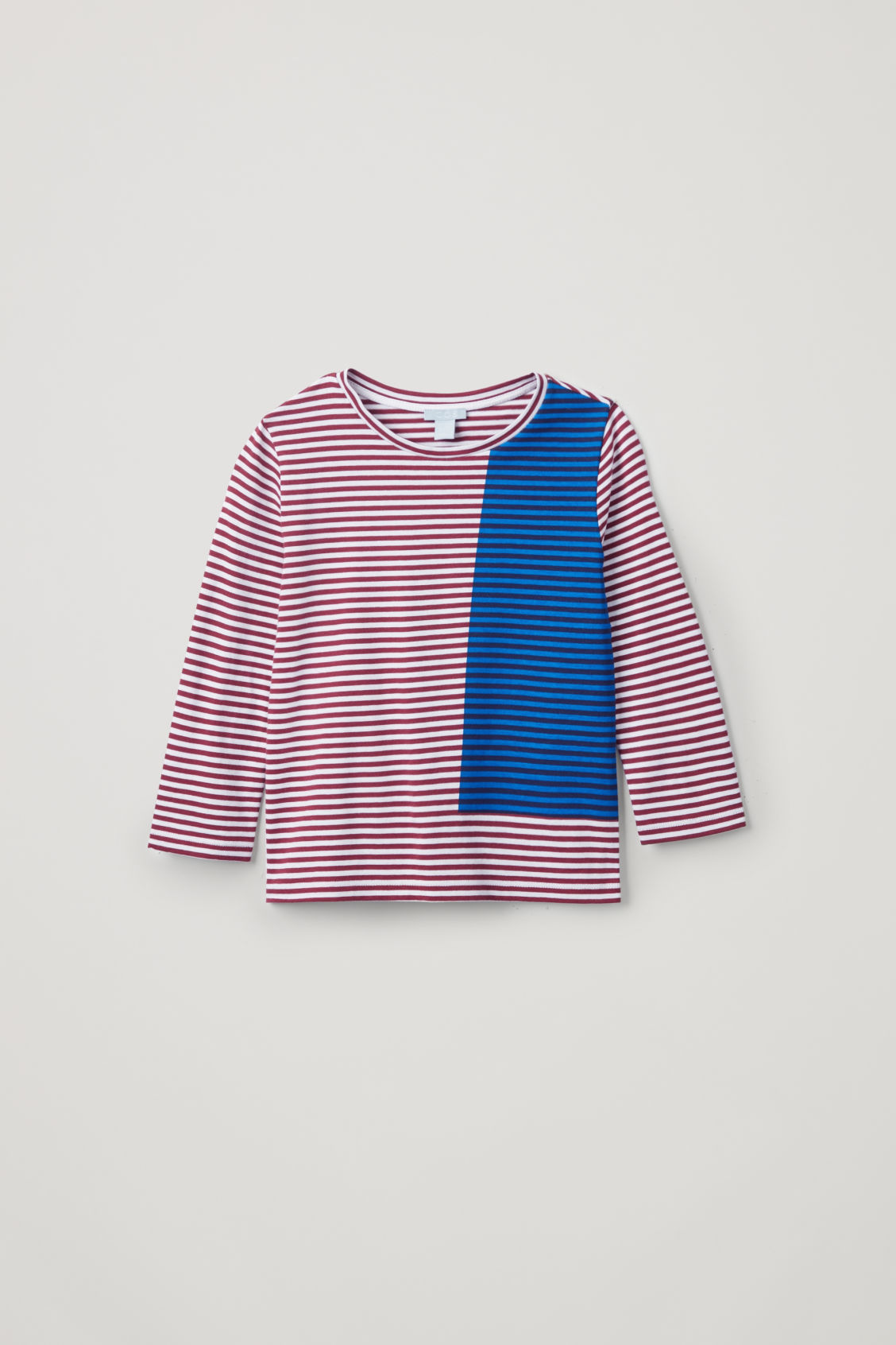 Front image of Cos striped long-sleeved top in burgundy