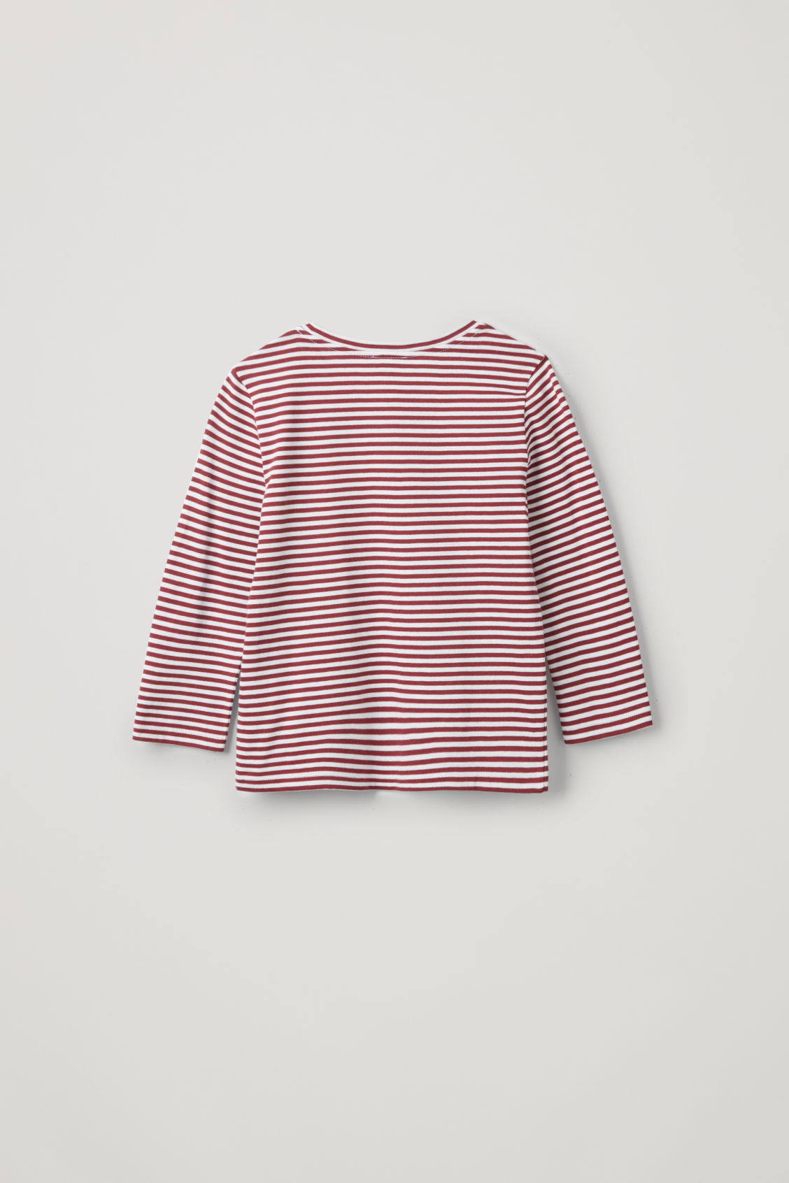 Side image of Cos striped long-sleeved top in burgundy