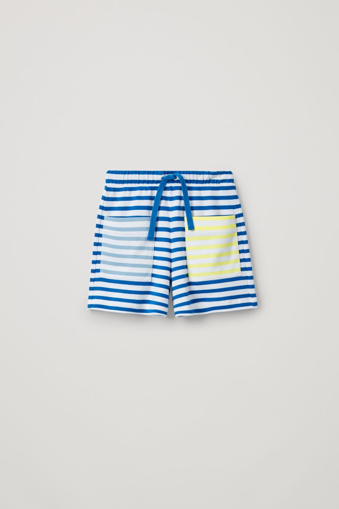 Front image of Cos contrast-stripe organic-cotton shorts in blue