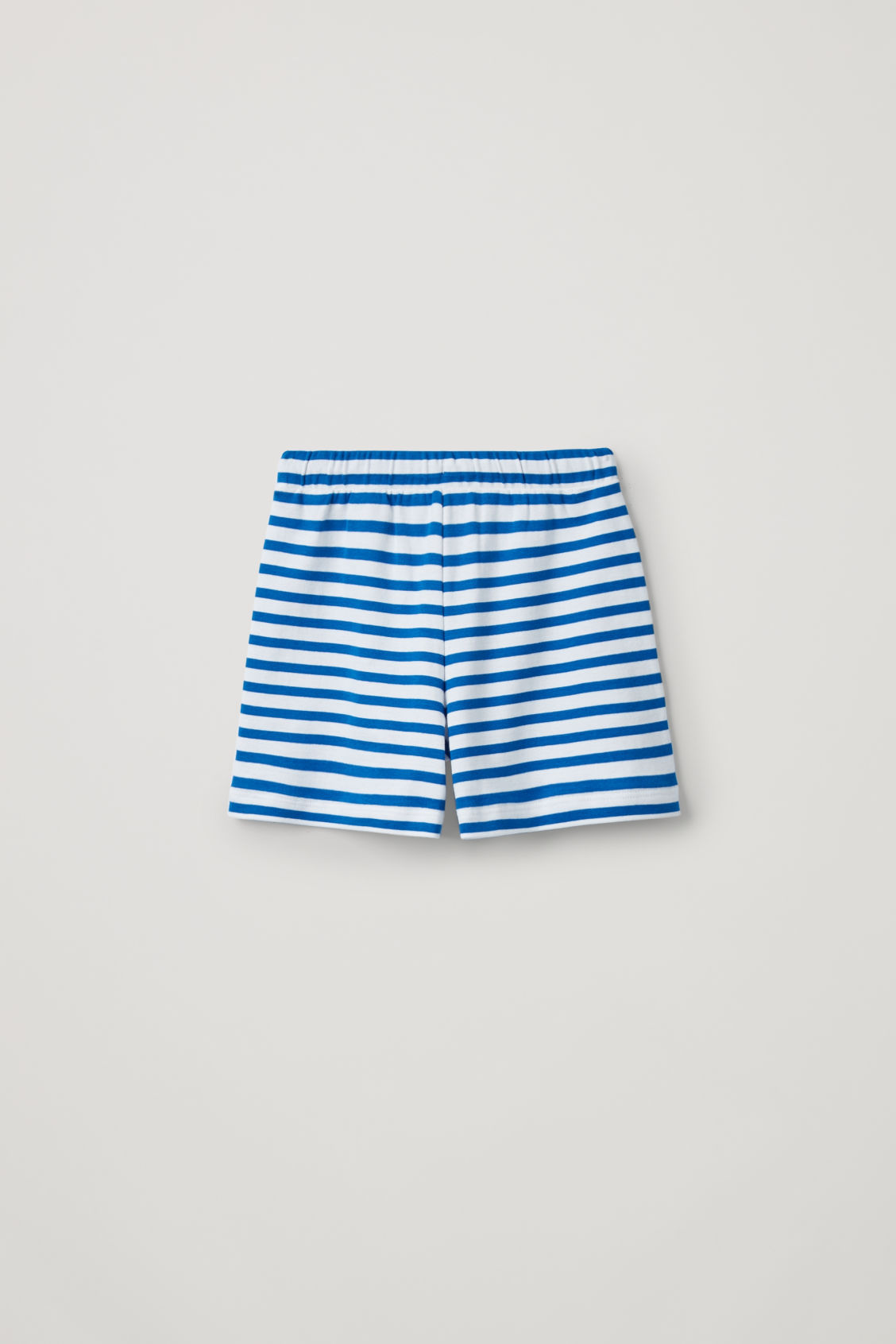 Side image of Cos contrast-stripe organic-cotton shorts in blue