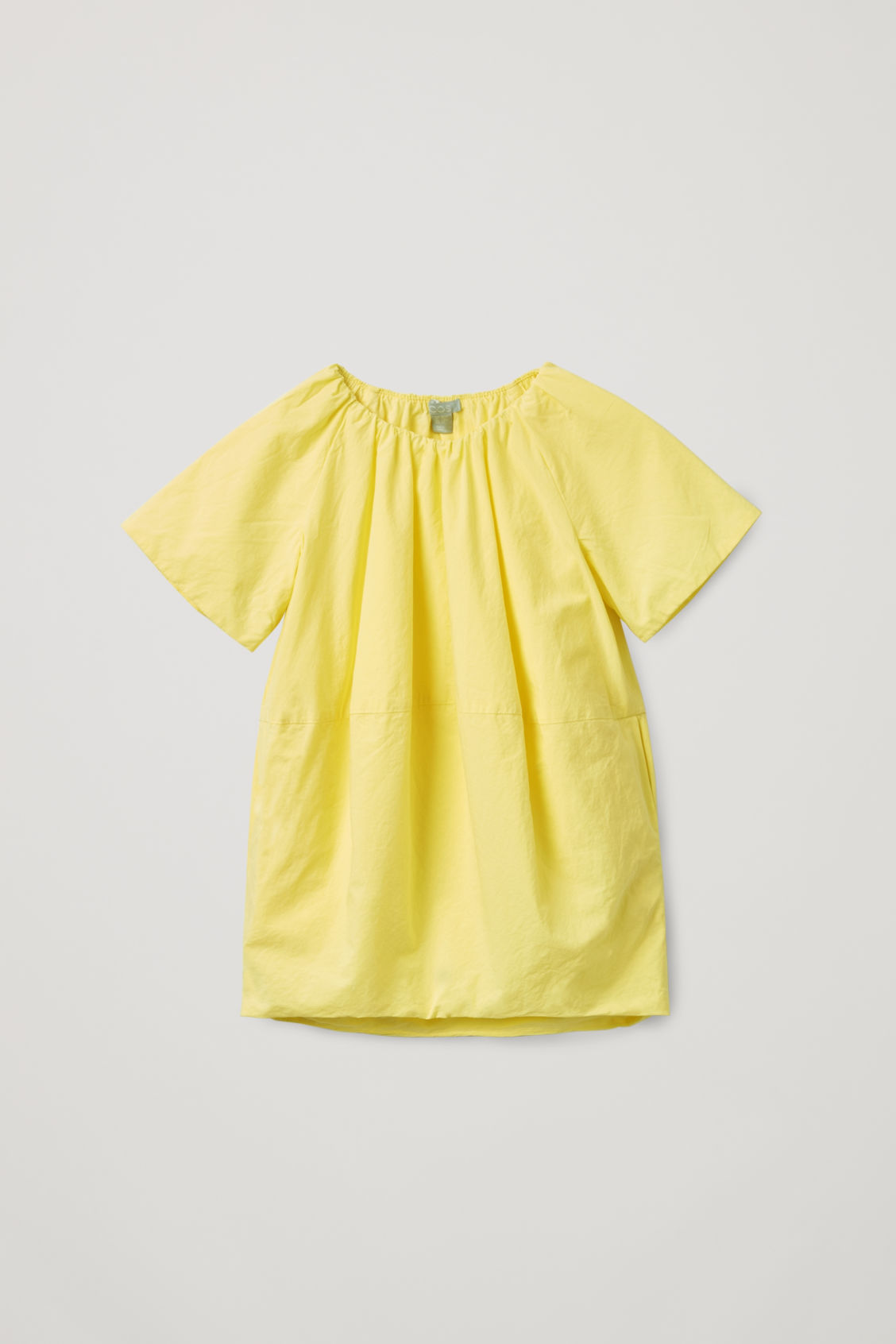 Front image of Cos voluminous-shape cotton dress in yellow