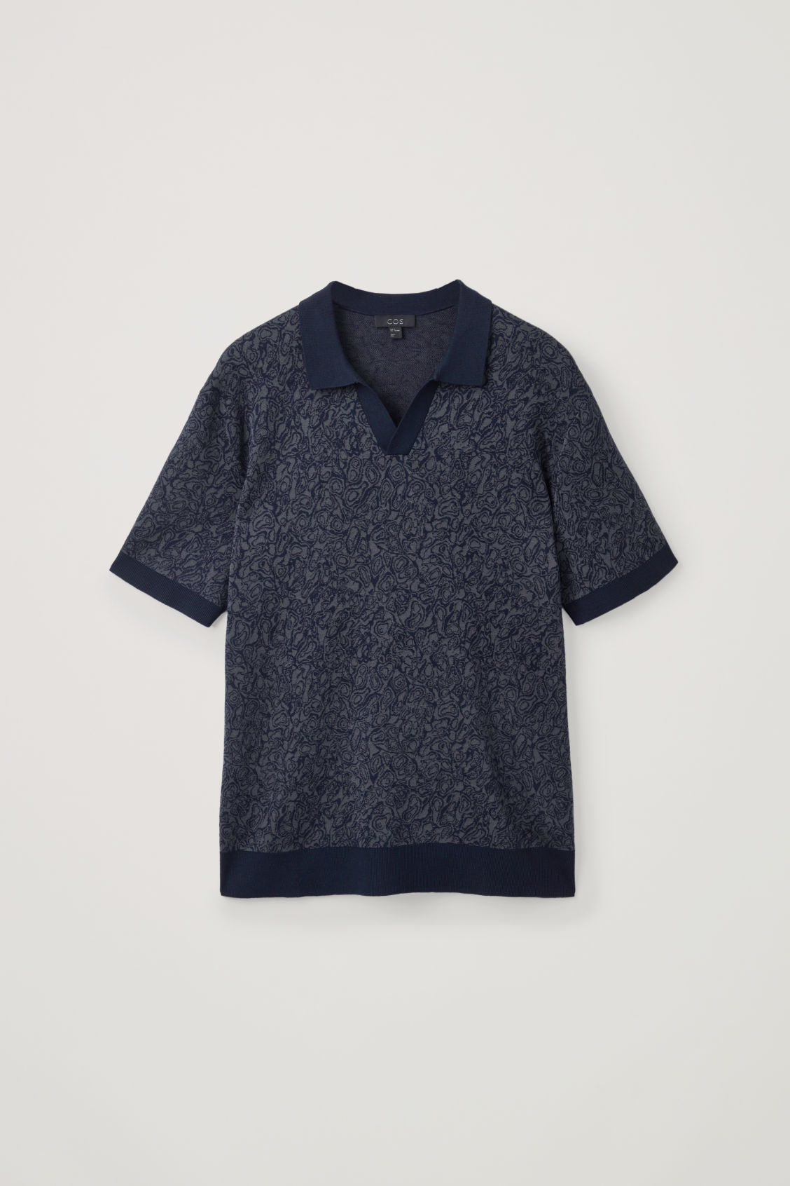 Front image of Cos marble-print knit polo in grey