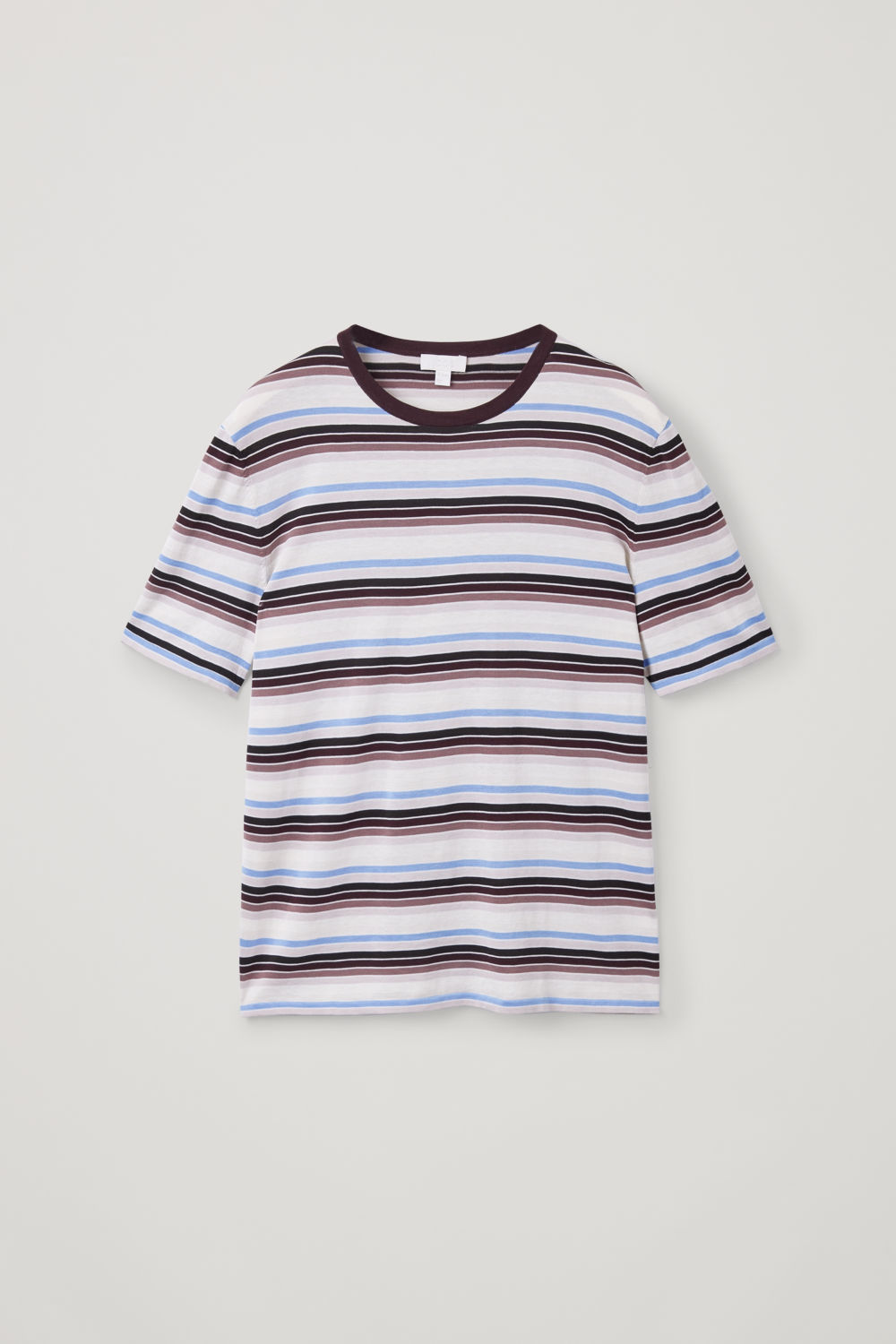 Front image of Cos striped knit t-shirt in brown