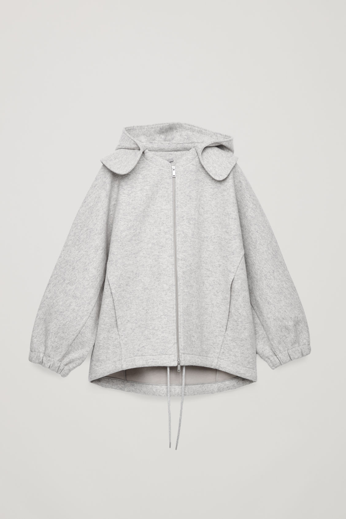 Front image of Cos detachable-hood wool jacket in grey