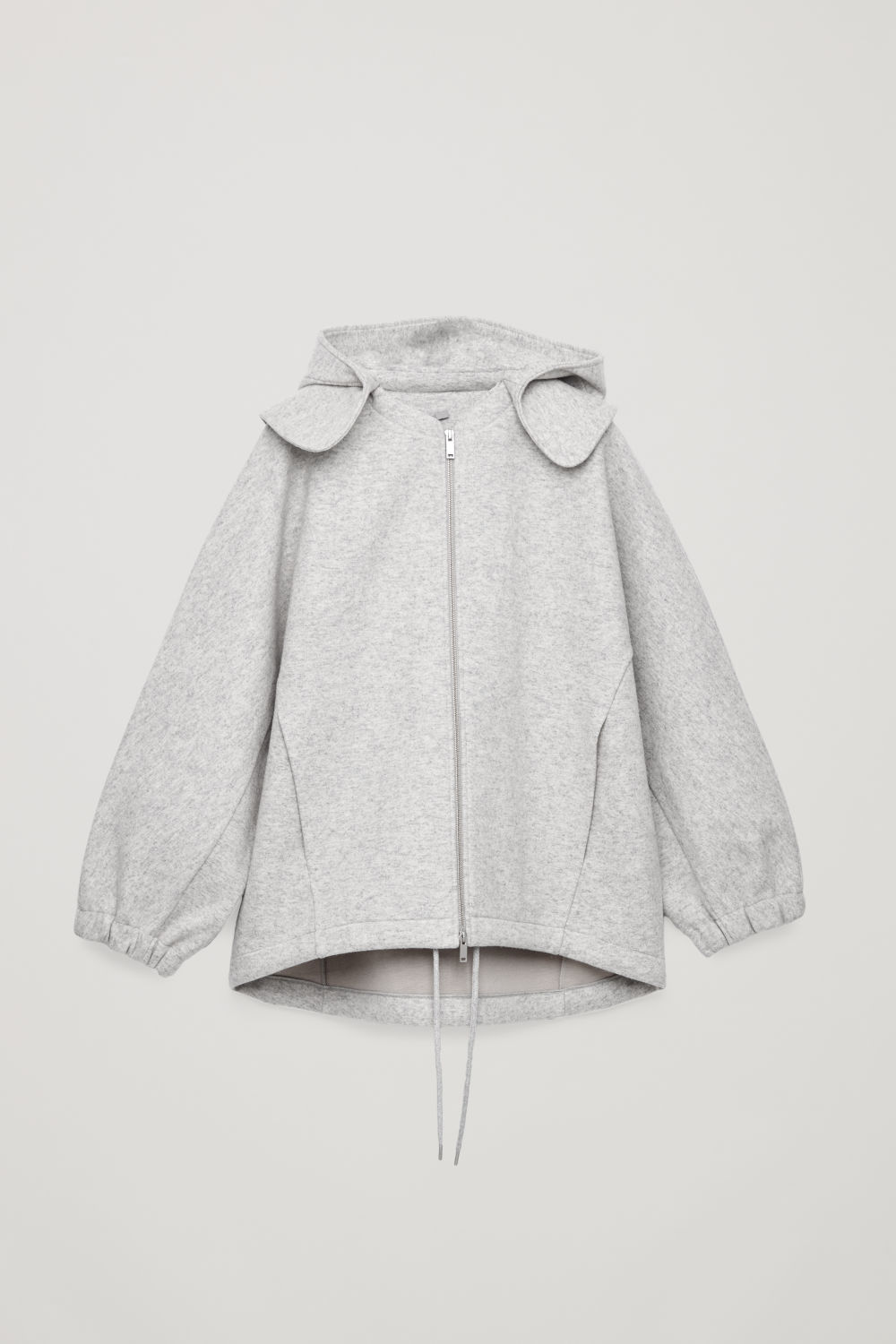 DETACHABLE-HOOD WOOL JACKET