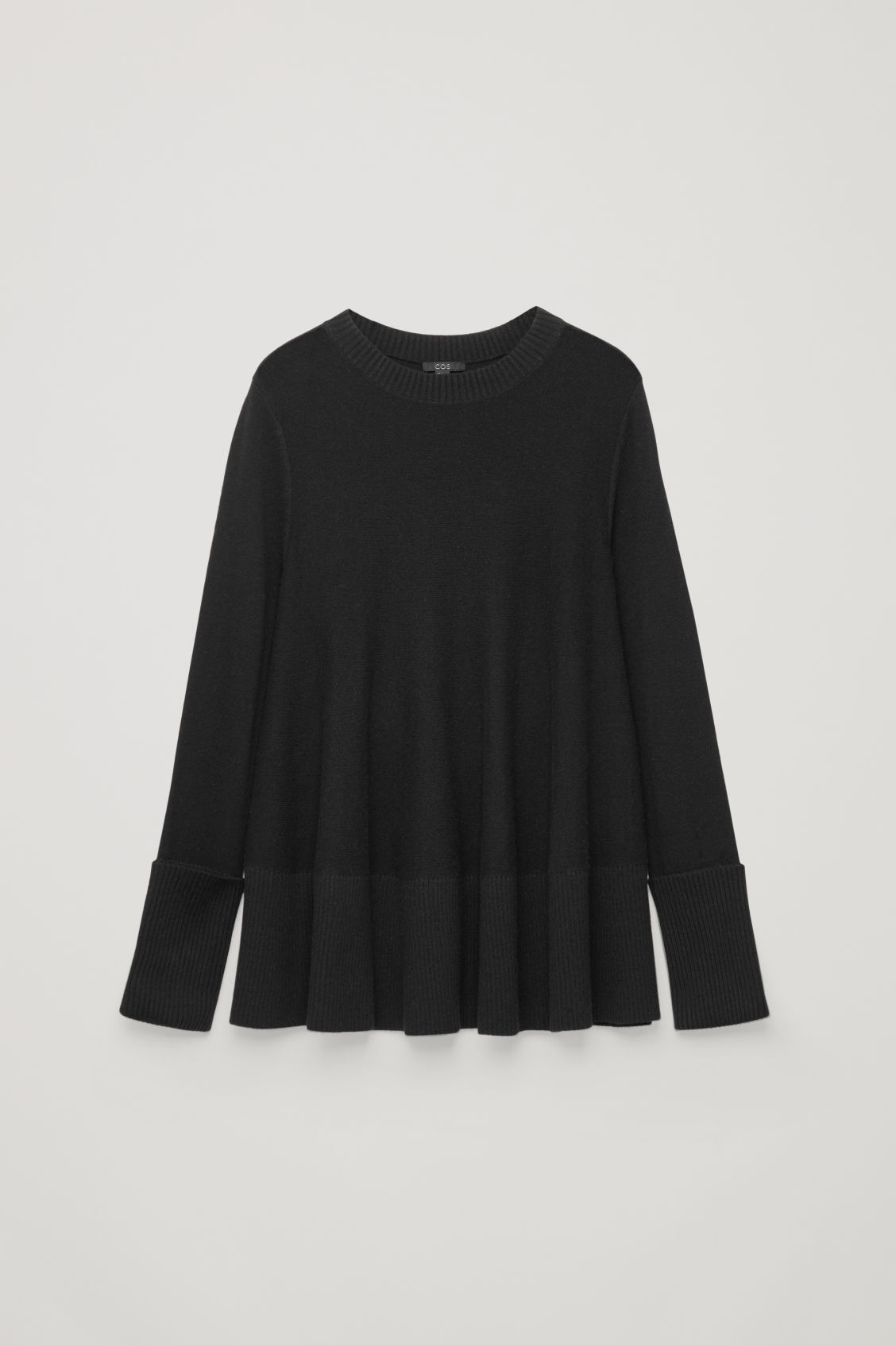 Front image of Cos a-line lambswool jumper in black