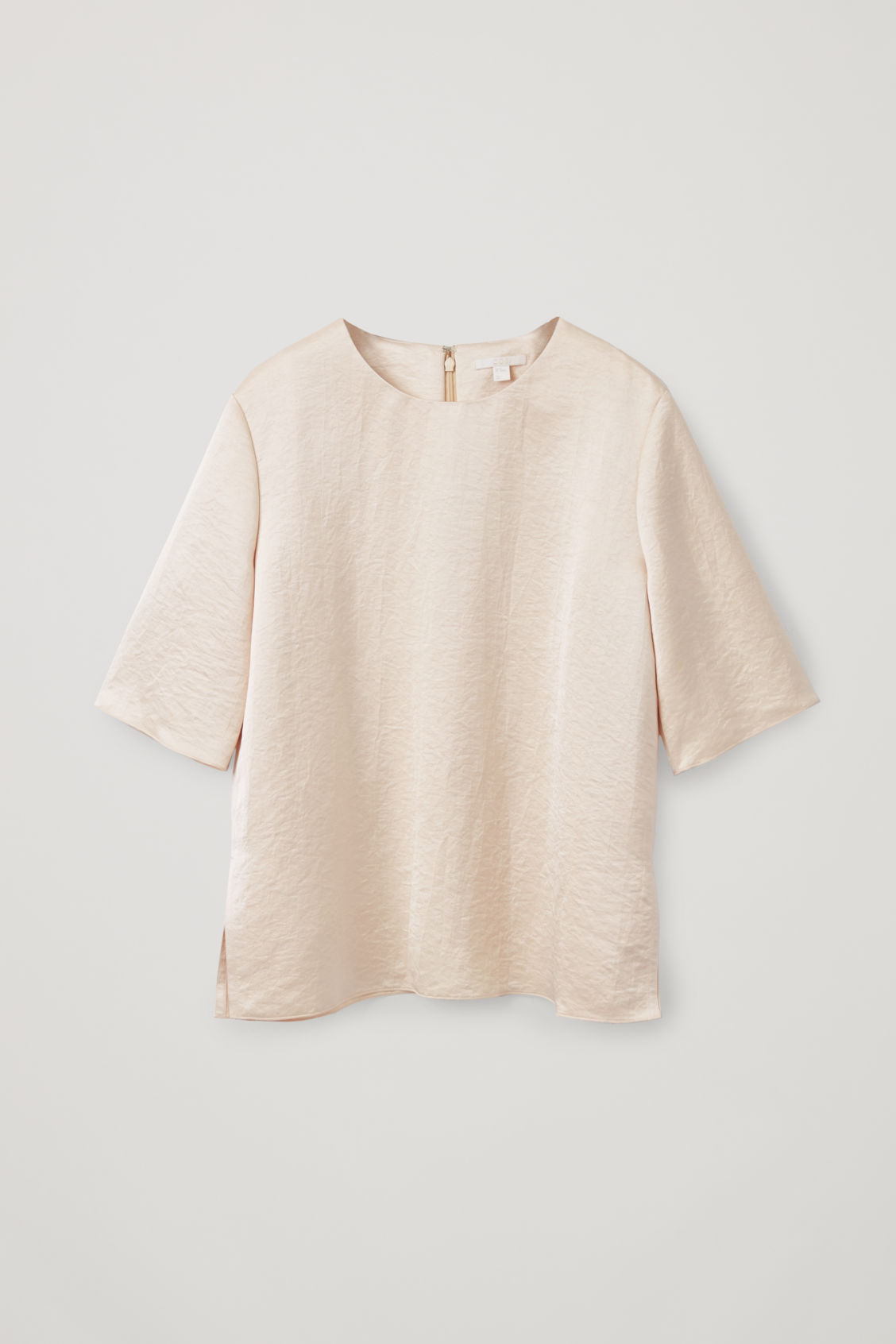 Front image of Cos smooth boxy t-shirt in beige