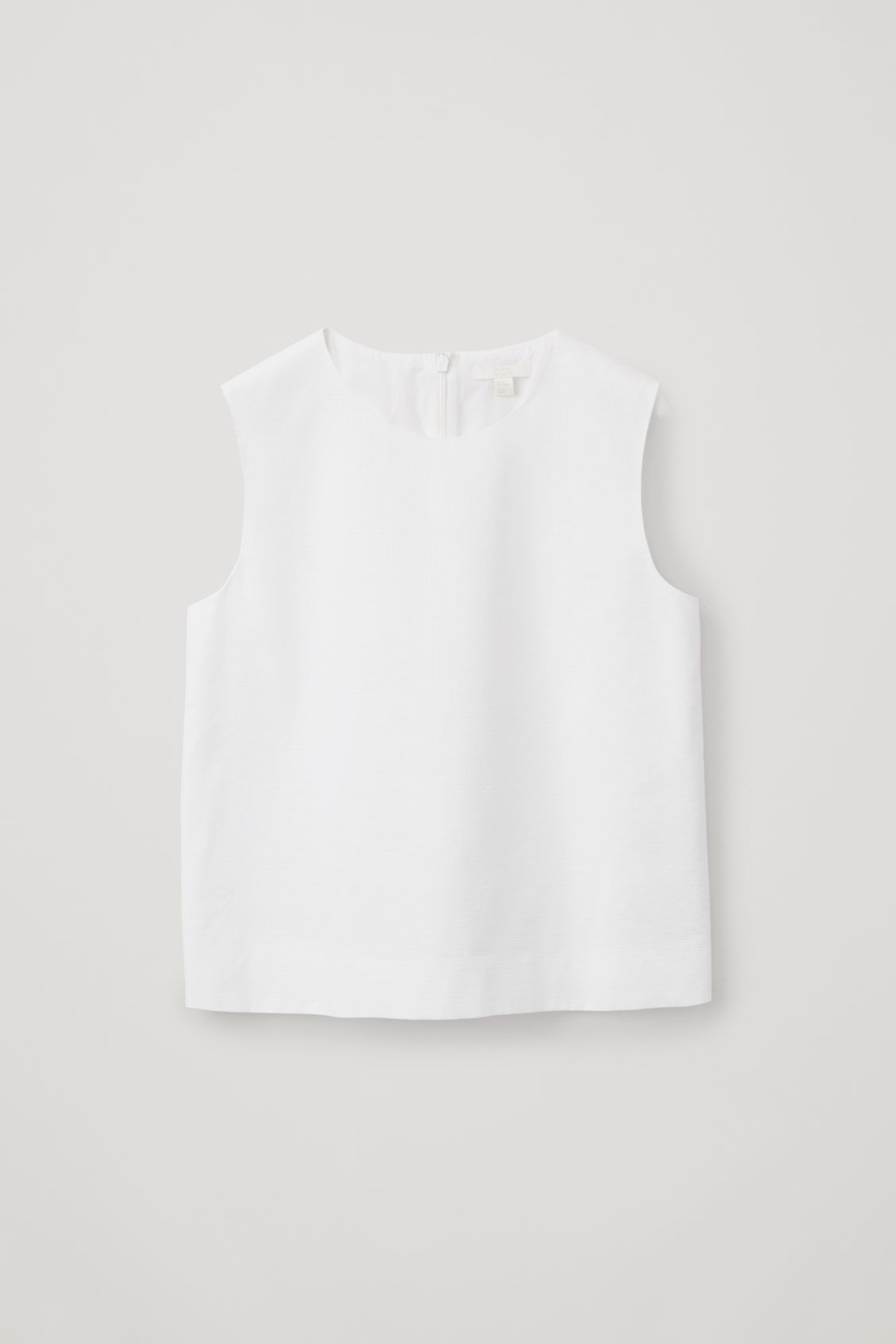 90f95a0f3e1ff Front image of Cos boxy cotton sleeveless top in white