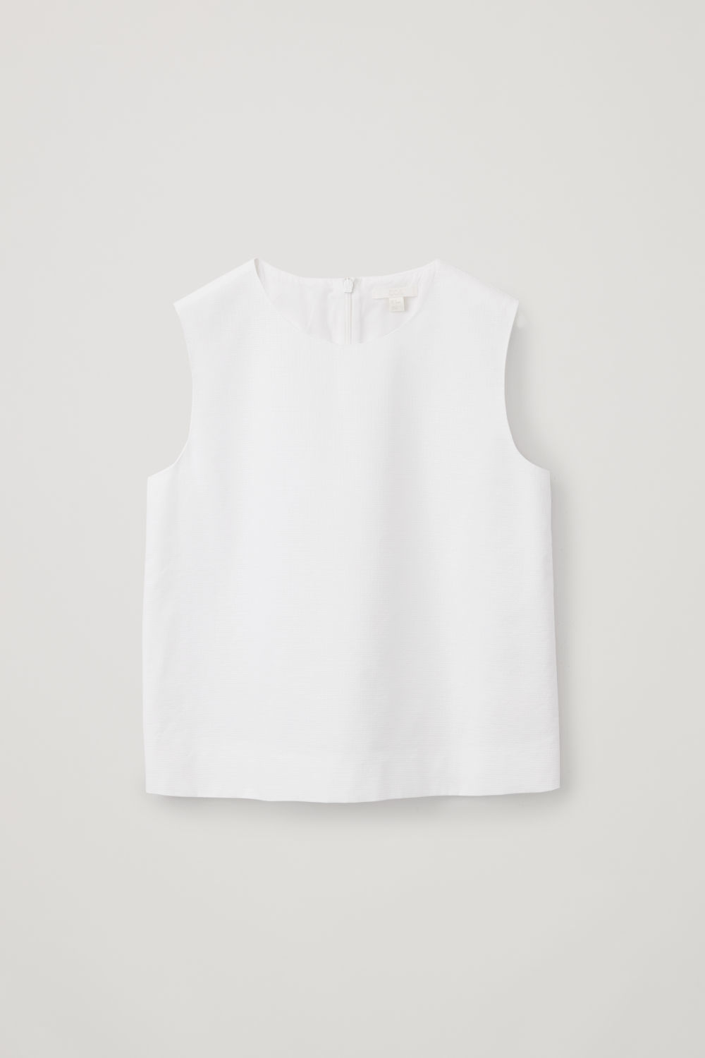 Front image of Cos boxy cotton sleeveless top in white
