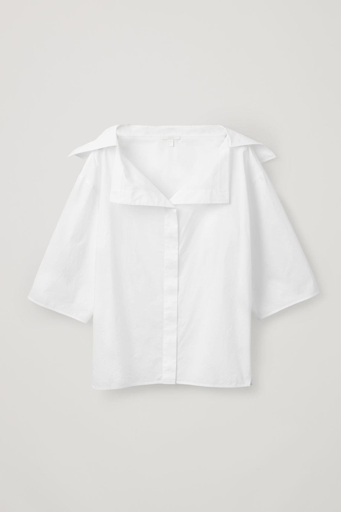 Front image of Cos open-collar shirt in white