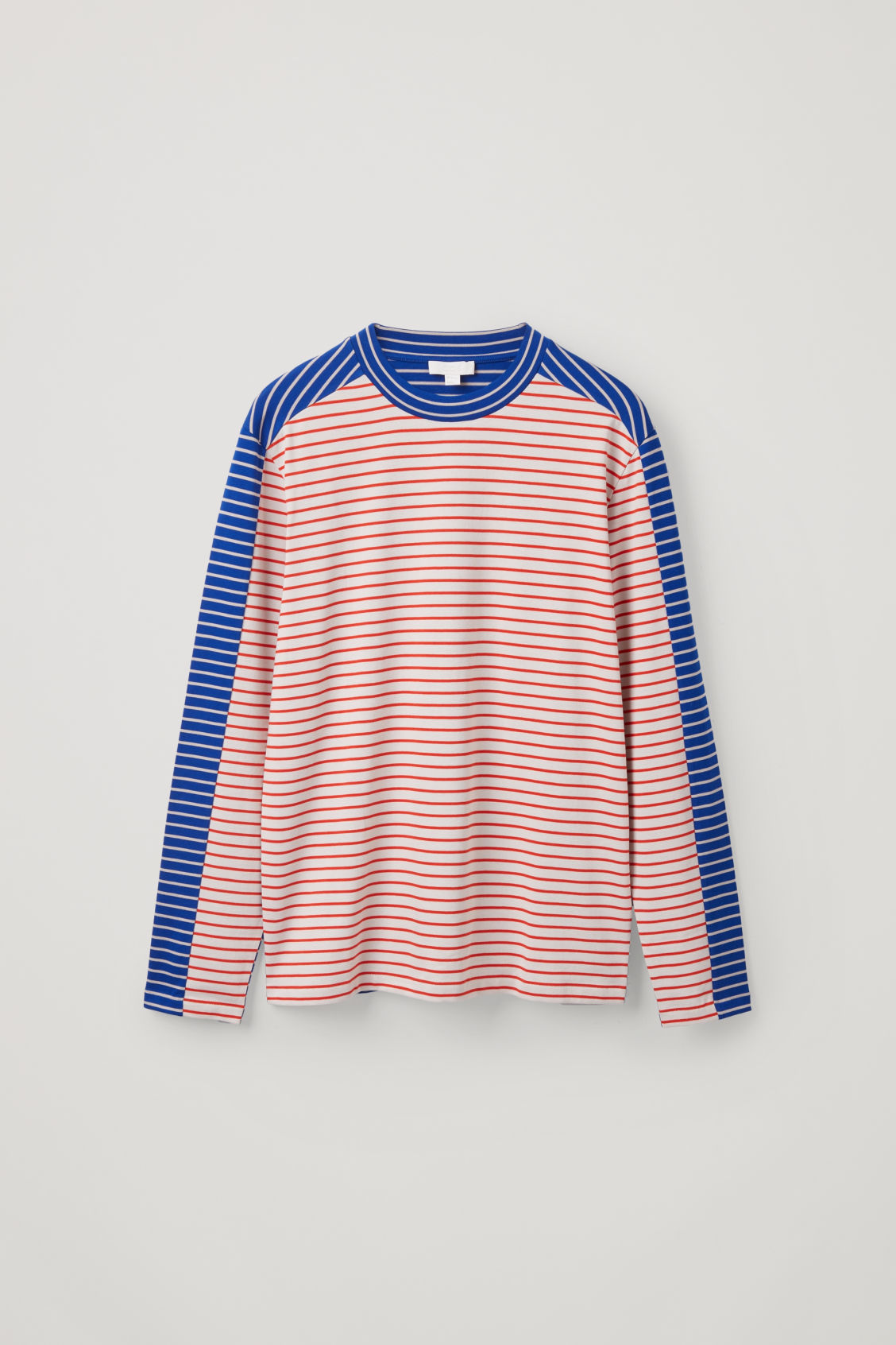 Front image of Cos contrast stripe cotton top in blue