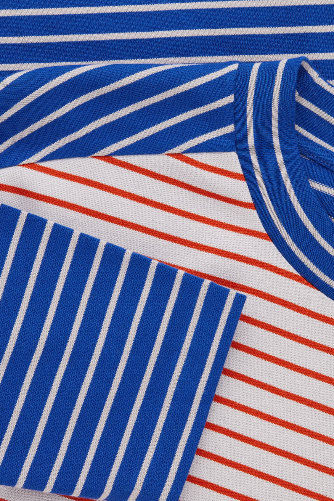 Side image of Cos contrast stripe cotton top in blue